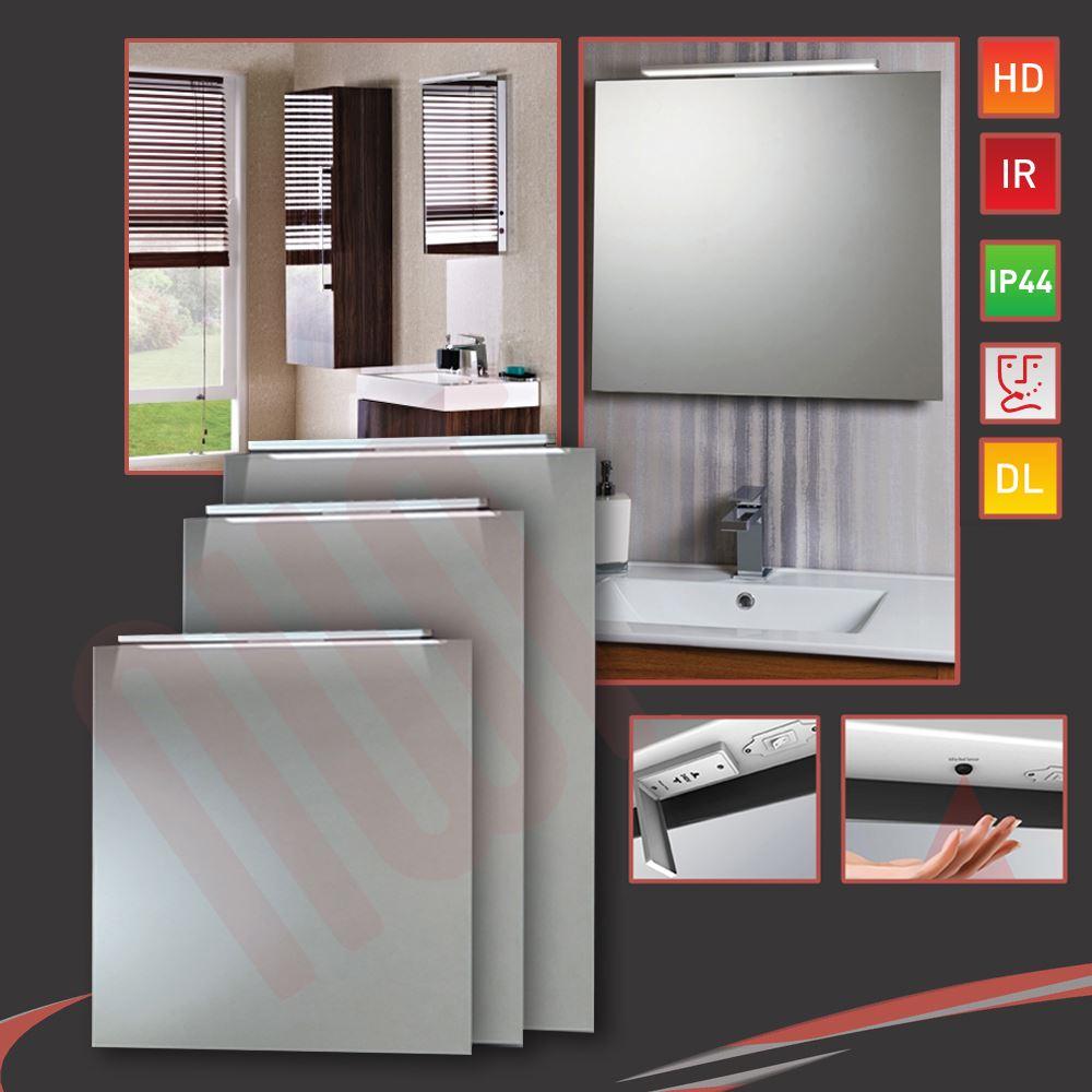 LED Down Lighter Bathroom Mirrors Infrared Sensor Heat Demister