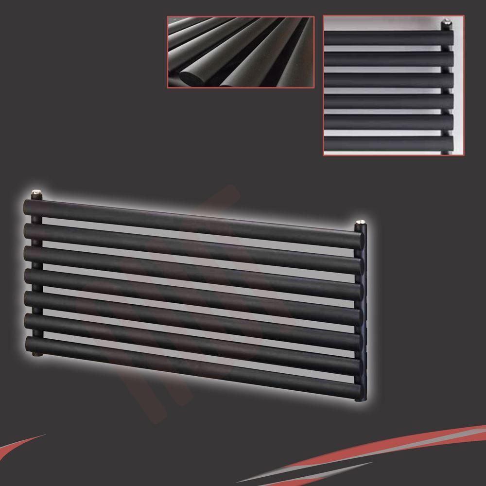 """W x 500 mm /"""" /""""Brecon tubo ovale singolo nero radiatore orizzontale 2203btu H 1000 mm"""
