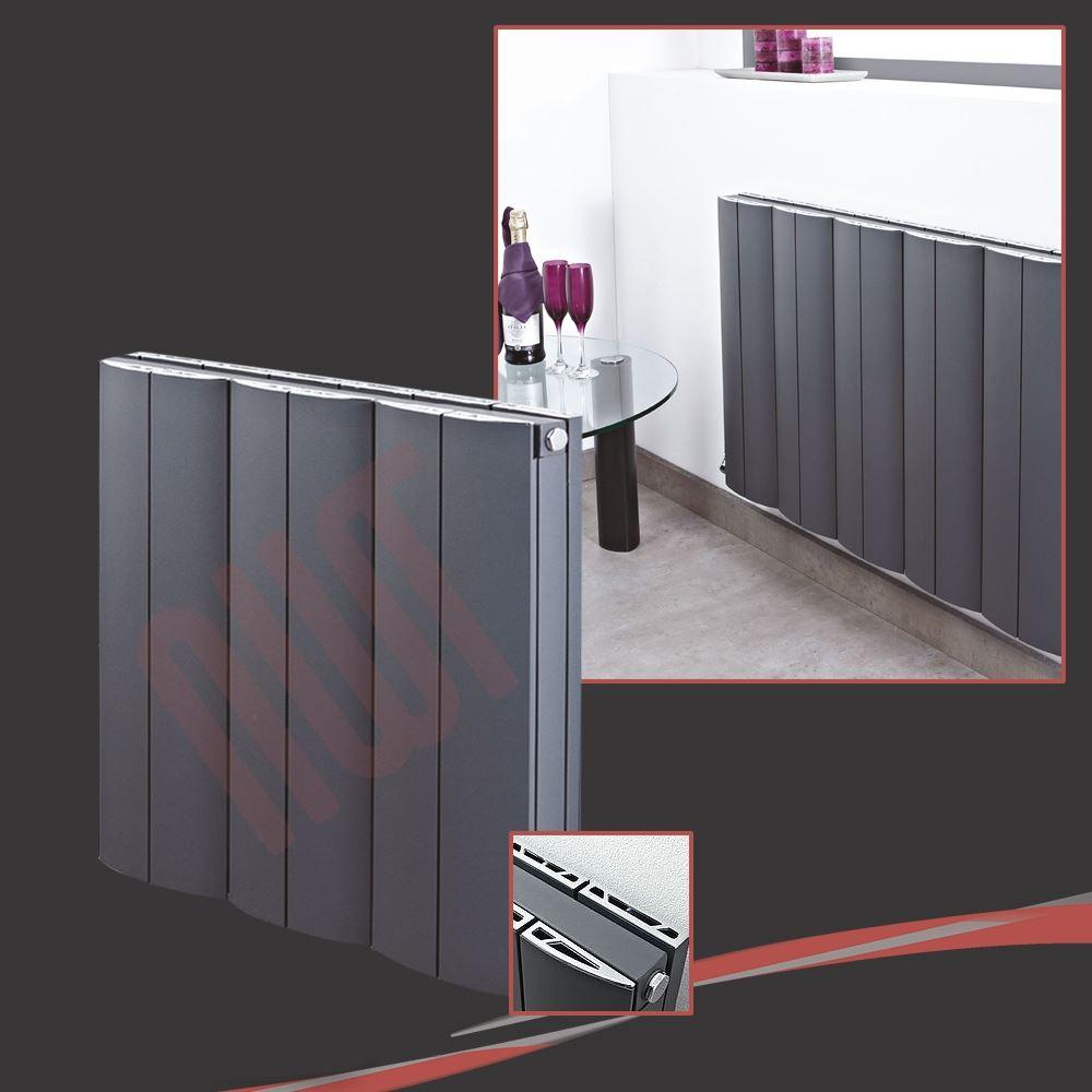 Horizontal Designer Anthracite Radiator Oval Column Double Central ...