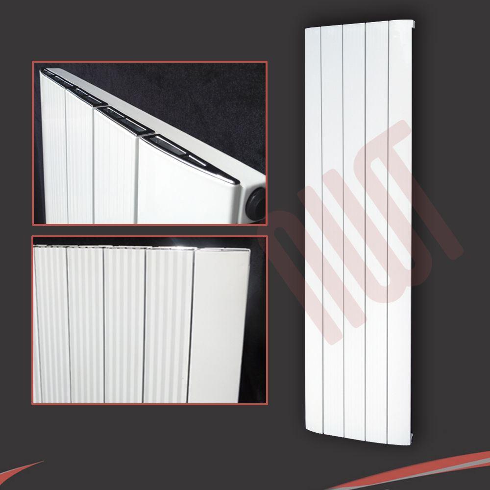 """/""""cariad/"""" Verticale Alluminio Bianco Designer RADIATORE 5584btu H 470mm W x 1800 mm"""