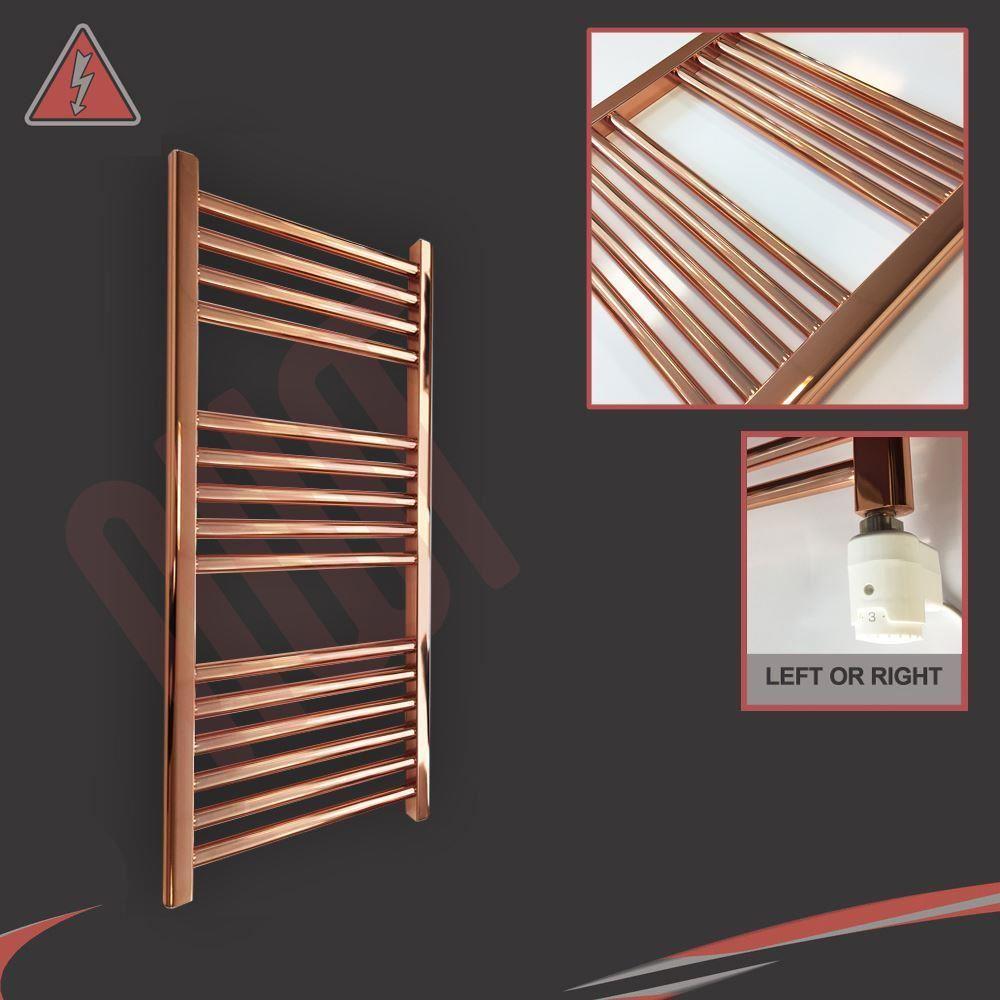 650x400mm Electric Straight Heated Towel Rail: 400mm(w) X 800mm(h) Straight Copper Electric Heated Towel