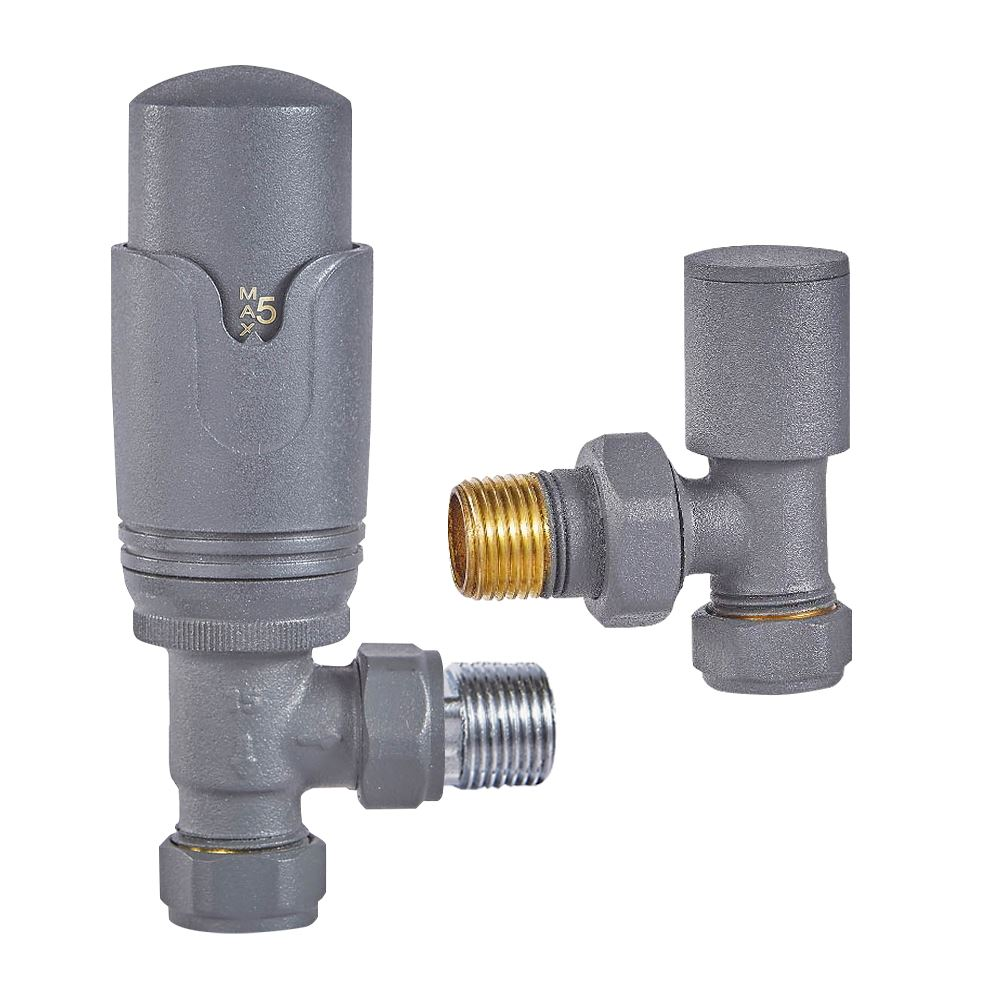 Solid Brass   Thermostatic Home Standard/® Chelsea Traditional Chrome Angled Central Heating Radiator Valves 15mm Pair