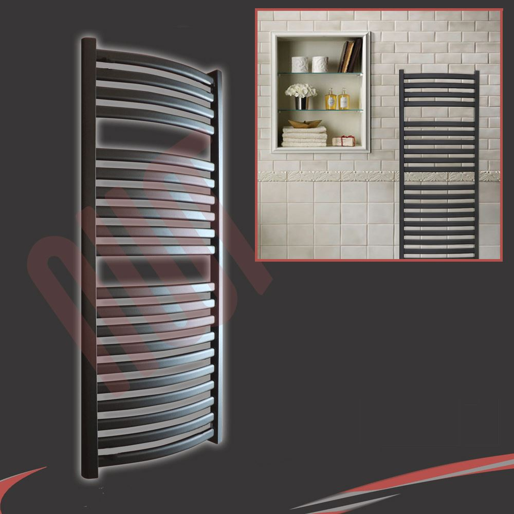 "Radiant Bathroom Heaters: ""Ellipse"" Designer Heated Chrome & Black Towel Rails"