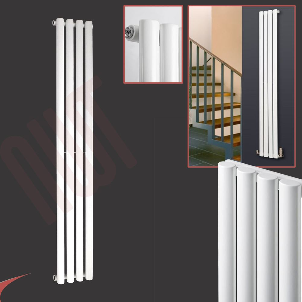 Vertical white designer radiators oval tube flat - Designer vertical radiators for kitchens ...