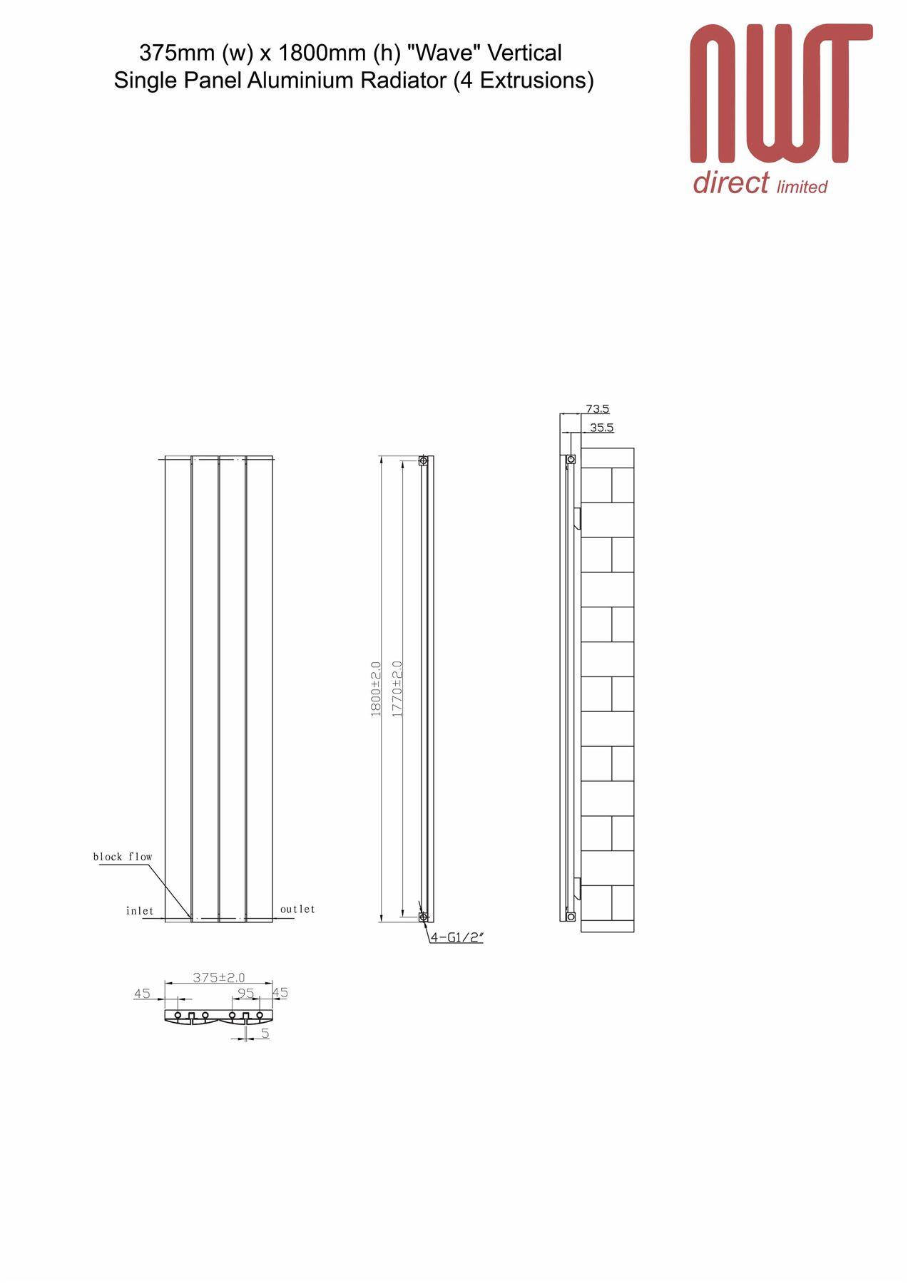 """H 375mm 3784 BTU x 1800mm W /""""ONDA/"""" Latte Macchiato Verticale Radiatore in Alluminio"""