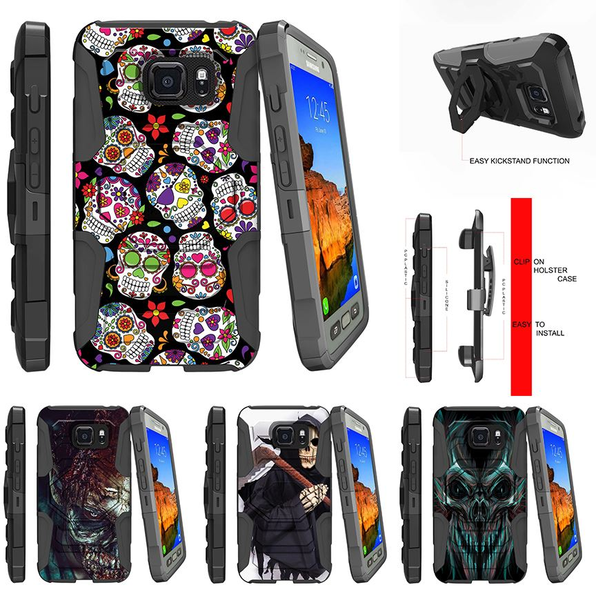 For Samsung Galaxy S7 Active| Rugged Holster Clip Stand Case Sugar Skull  Design