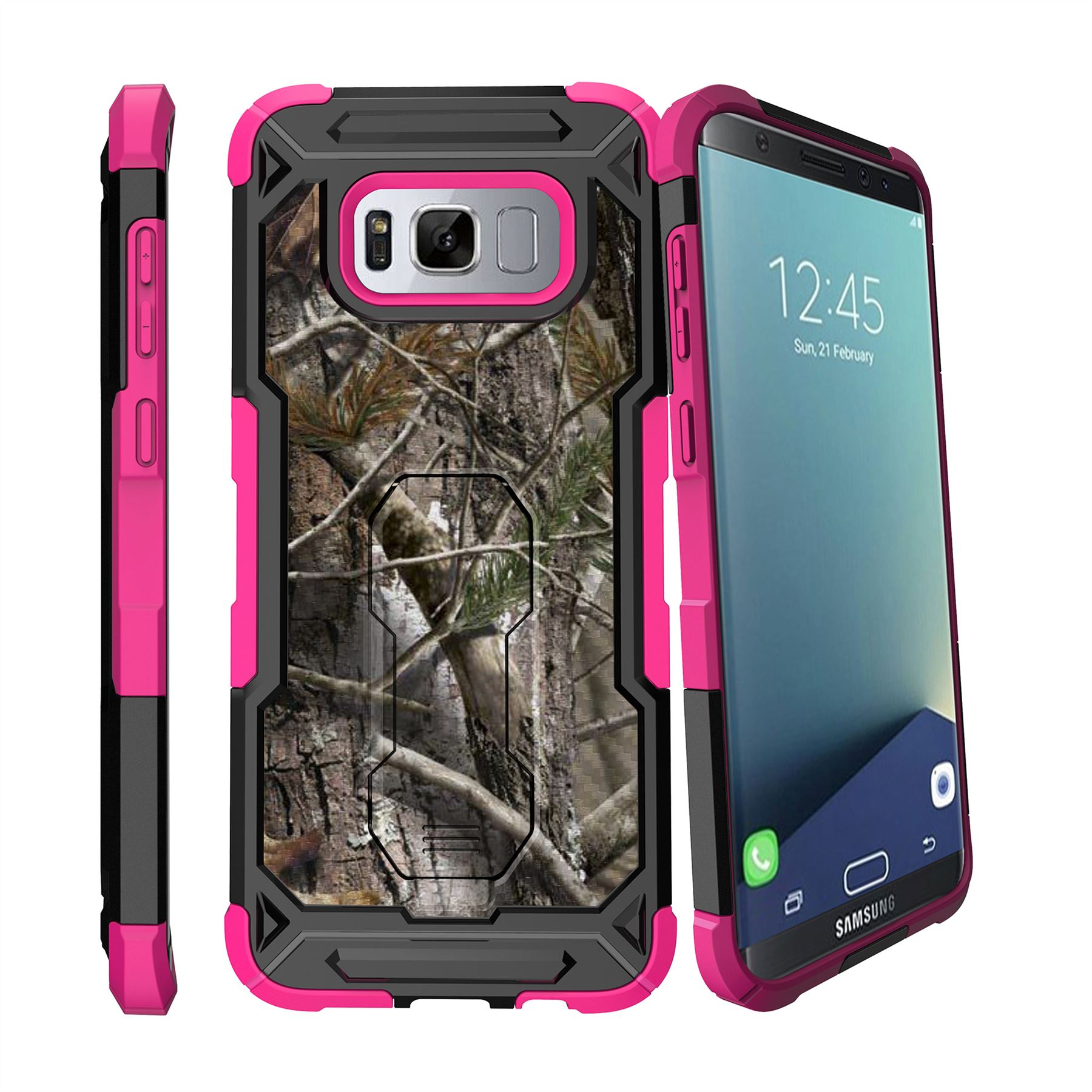 for samsung galaxy s8 plus s8 edge plus g955 2017 stand pink case tree camo ebay. Black Bedroom Furniture Sets. Home Design Ideas