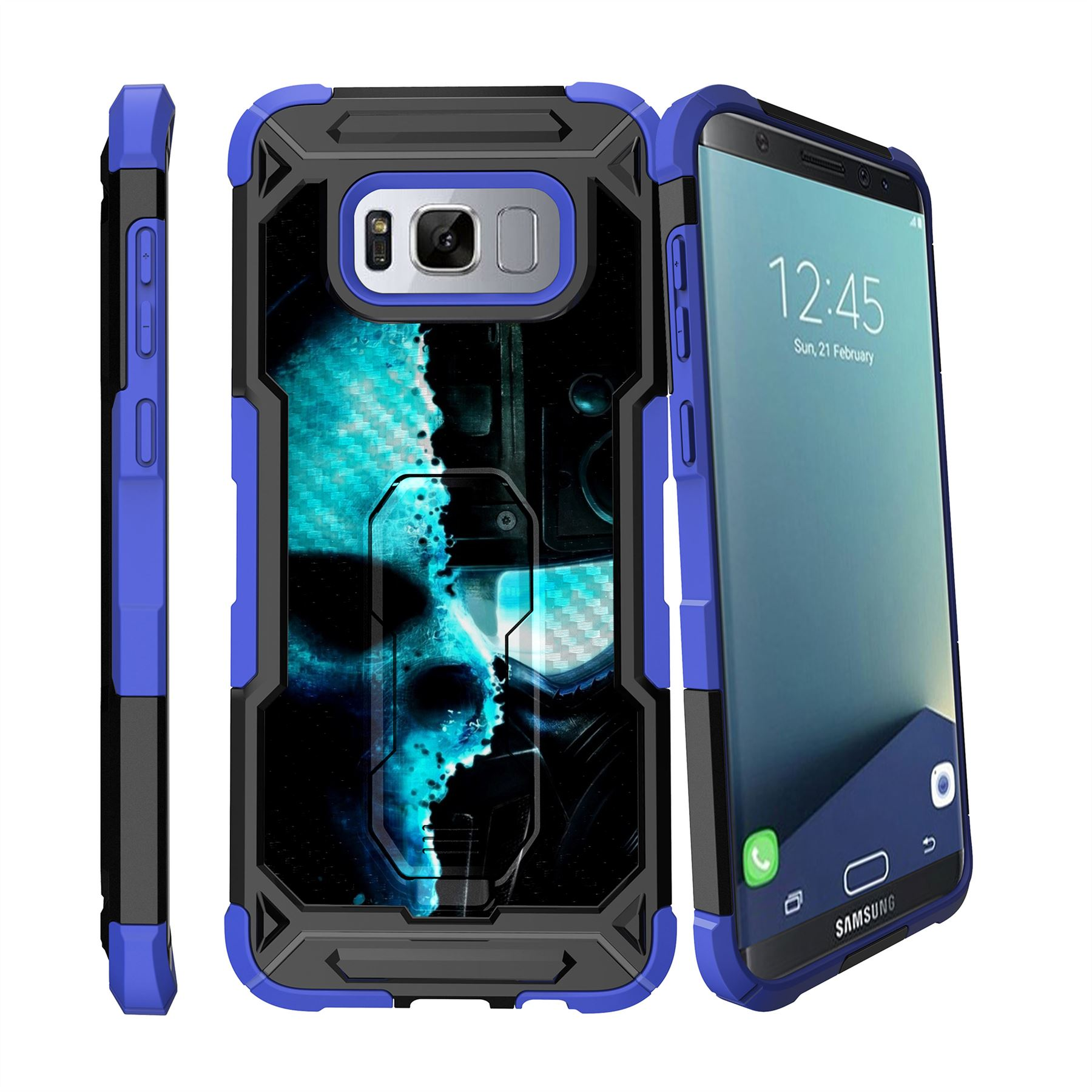 For Samsung Galaxy S8 Plus | S8 Edge Plus G955 Clip Stand Blue Case Cyborg | eBay