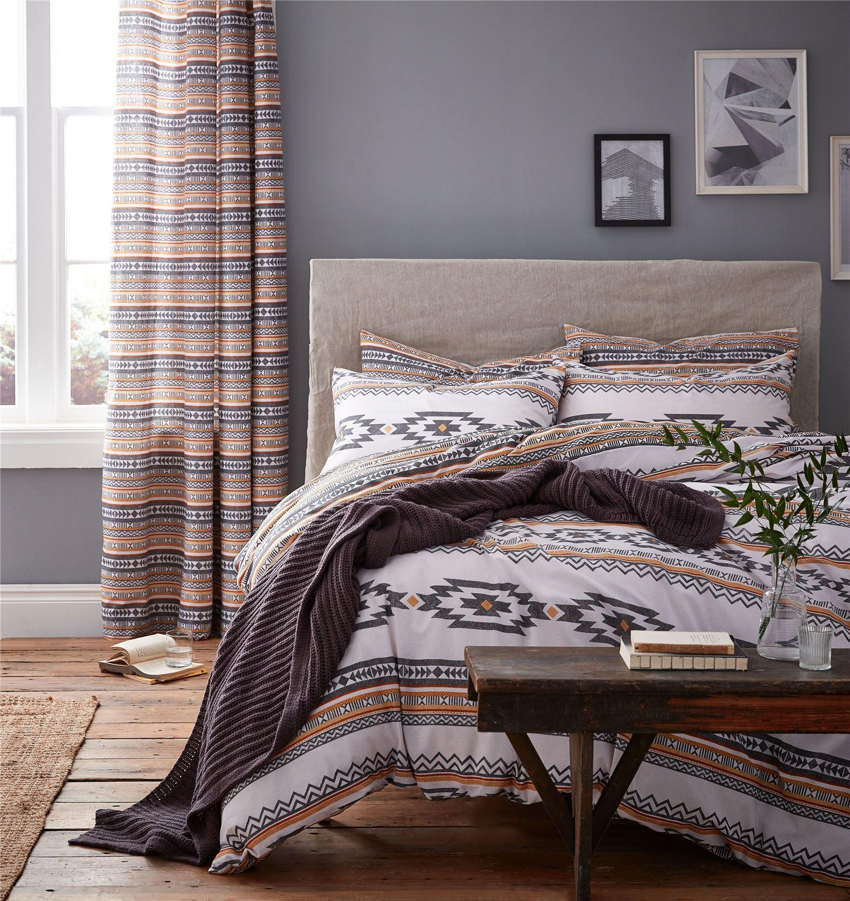 Aztec Duvet Quilt Cover Set & Pillowcases, Bed Linen Double King ...