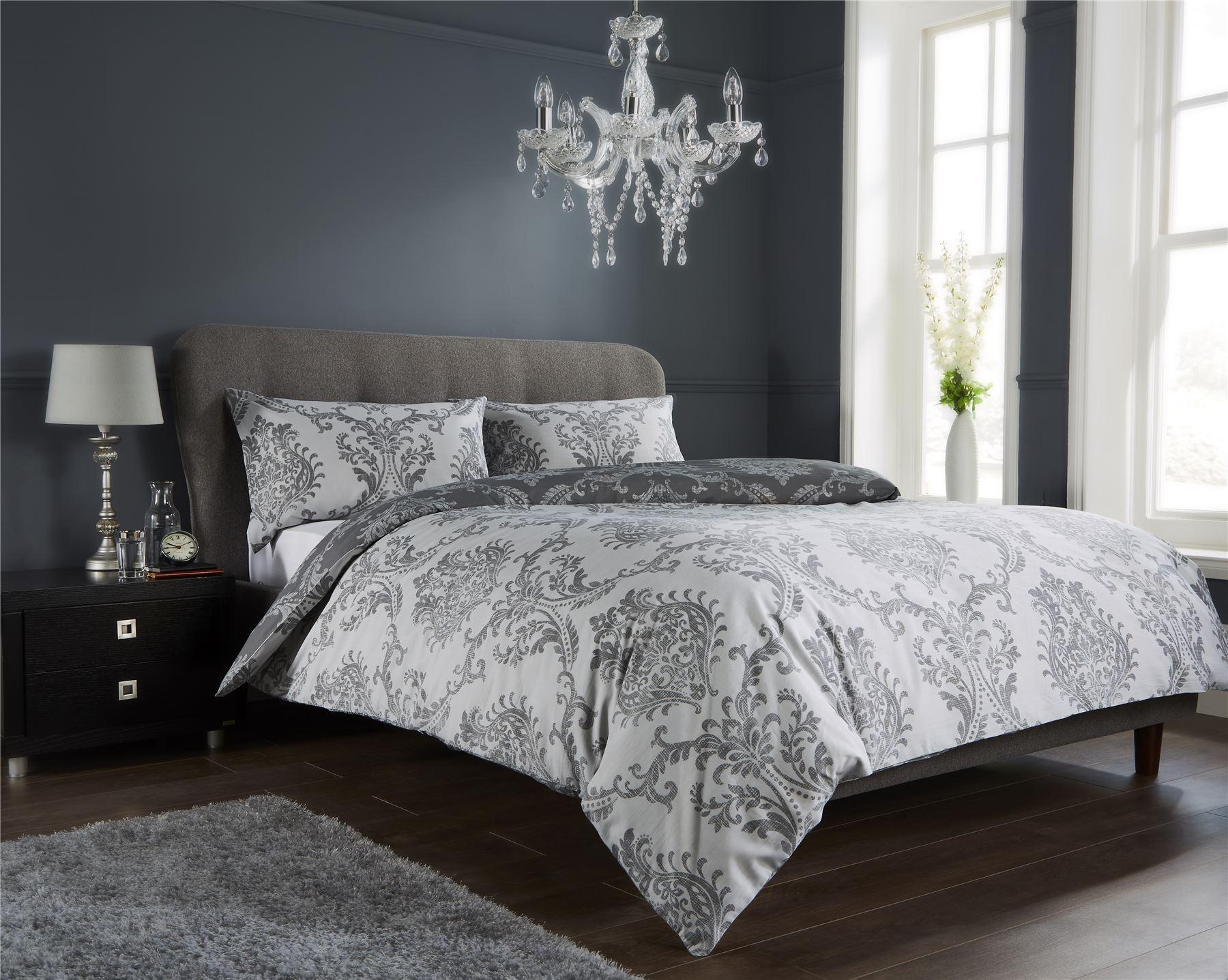 details about damask duvet quilt cover set bed linen double king size bedding black grey