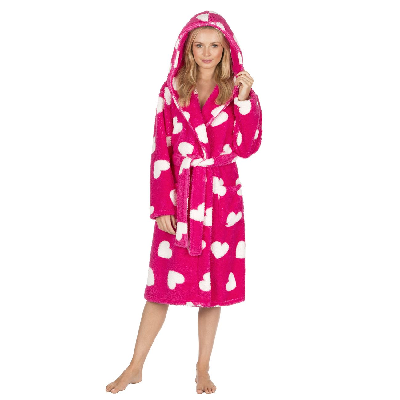 Ladies Hearts Hooded Robe Dressing Gown Soft Fluffy Nightwear Size 8 ...