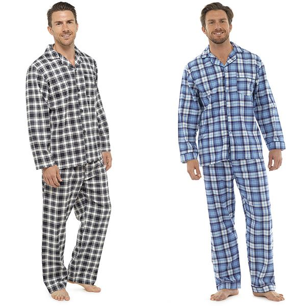 8acc38ce4d Men's Traditional Check Flannel Pyjamas, Long Sleeve Top & Pants PJ Set,  RZK55