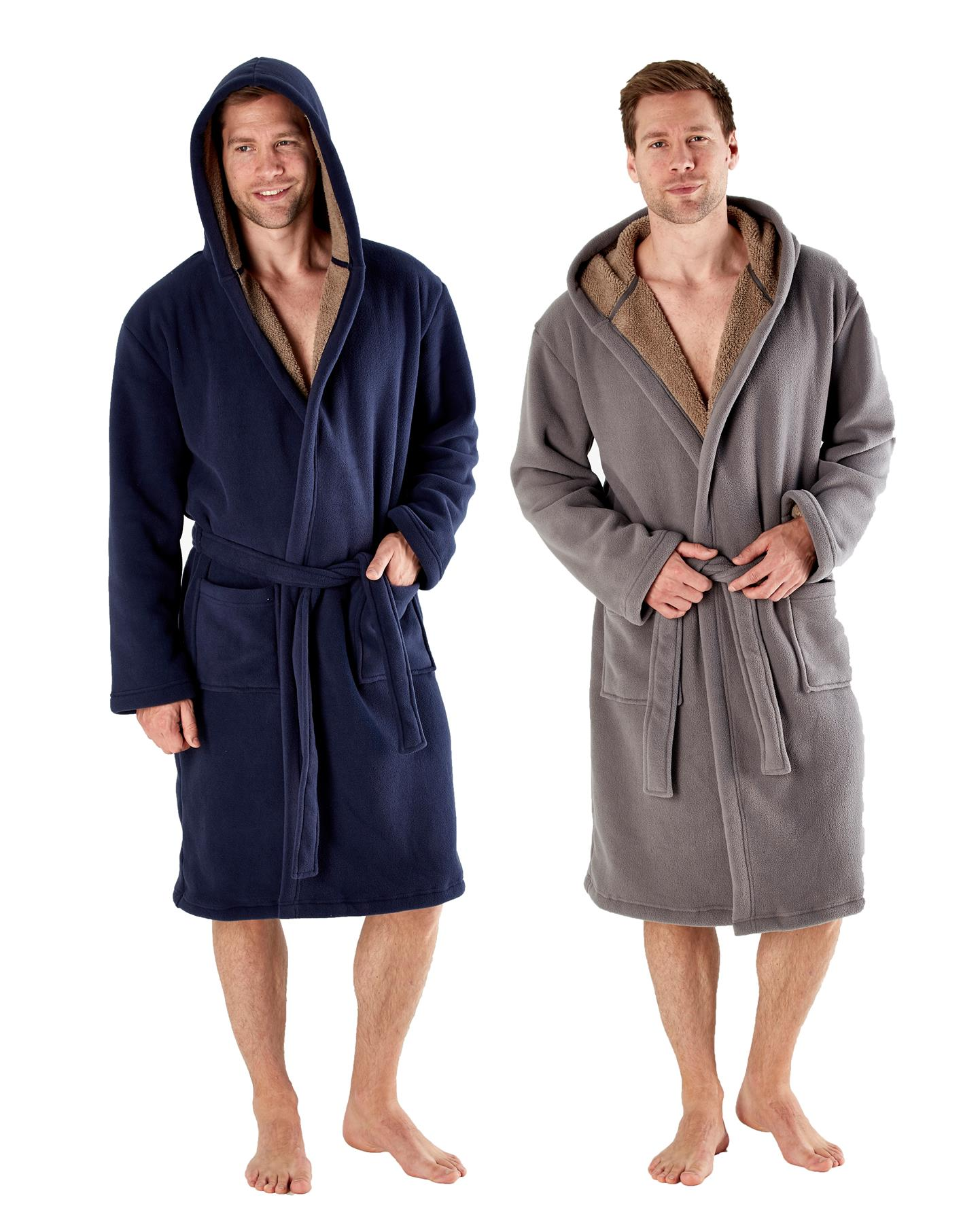 Mens Hooded Robe Luxury Sherpa Lined Bonded Fleece Bathrobe Dressing Gown Ebay