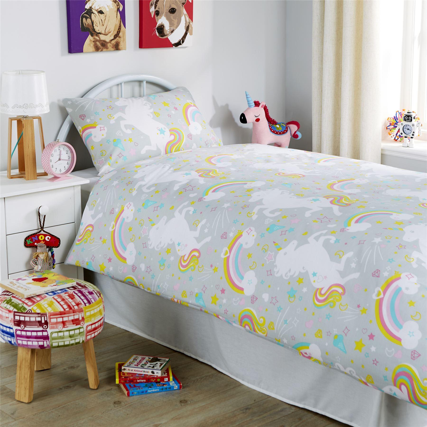 Unicorn duvet cover set girls quilt cover unicorn bedding for Cama unicornio