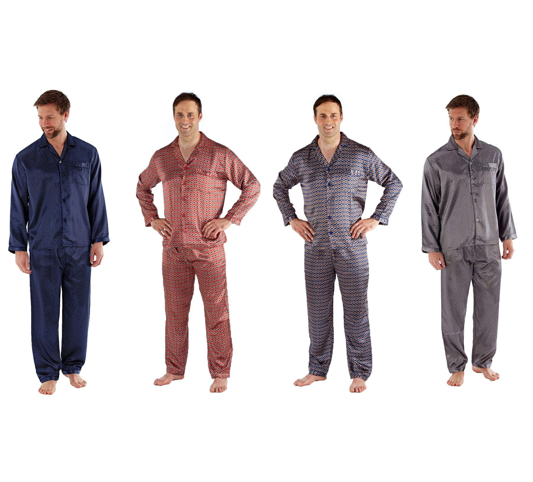salvare c6ff7 2b26e Dettagli su Uomo Pigiami di Seta, Pulsante Manica Lunga Camicia Pantaloni  Set