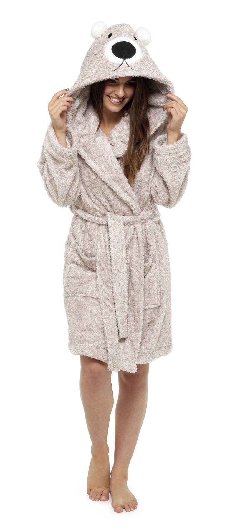 Women\'s Animal Hooded Robe Dressing Gown, Soft Fluffy Nightwear ...
