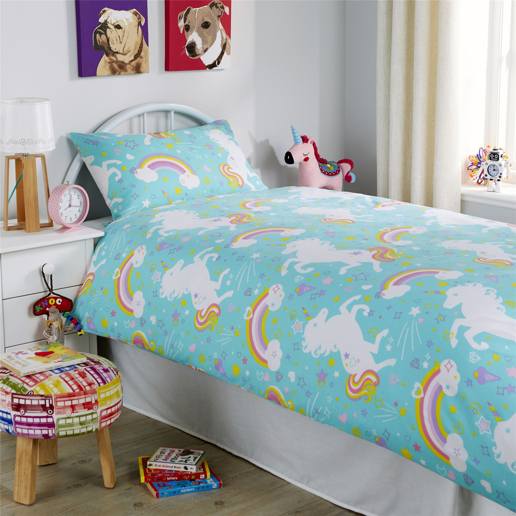 Unicorn Duvet Cover Set Kids Quilt Cover Unicorn Bedding Single Double Duckegg Ebay