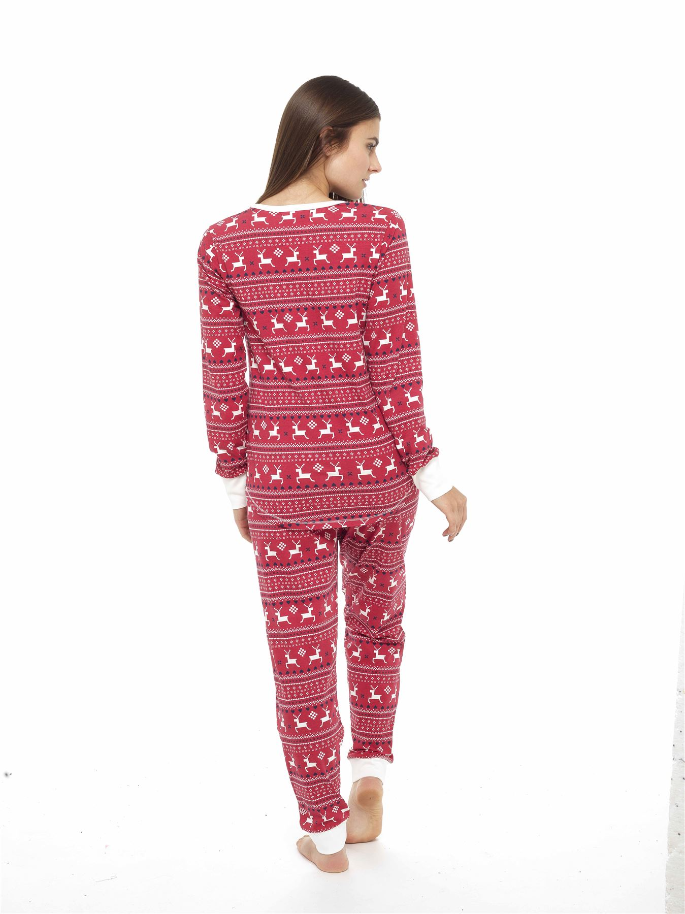 Ladies-Jersey-Fair-Isle-Reindeer-Pyjamas-Twosie-Cotton- 301522932
