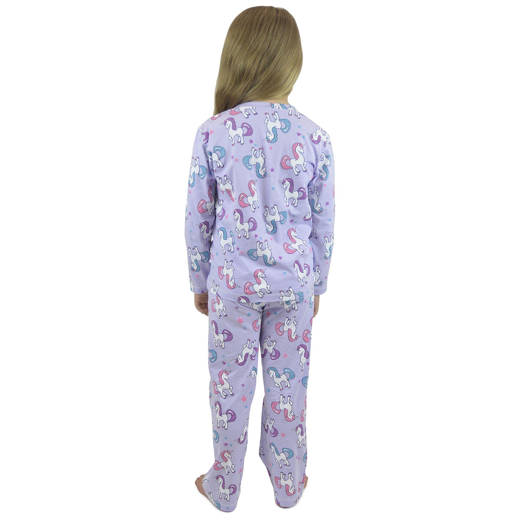 Kids Unicorn /& Pug Girls Pyjama Set Cute Pyjamas PJs Nightwear LN139