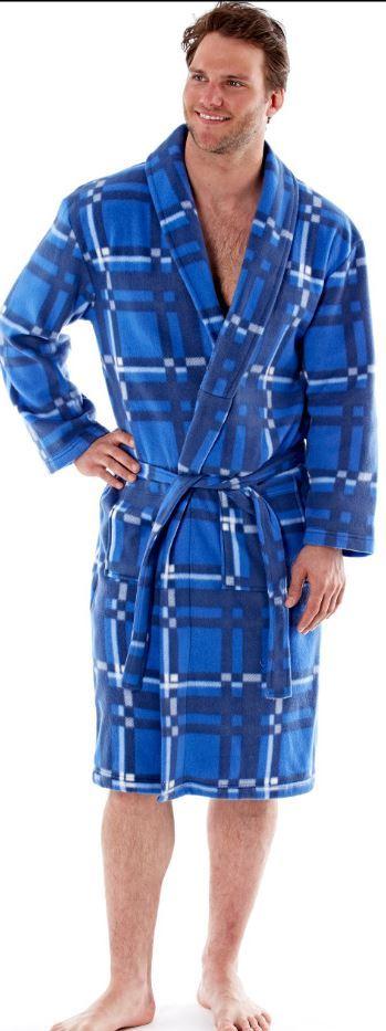 Men\'s Fleece Robe, Check Stripe Dressing Gown, Winter Gift For Him ...