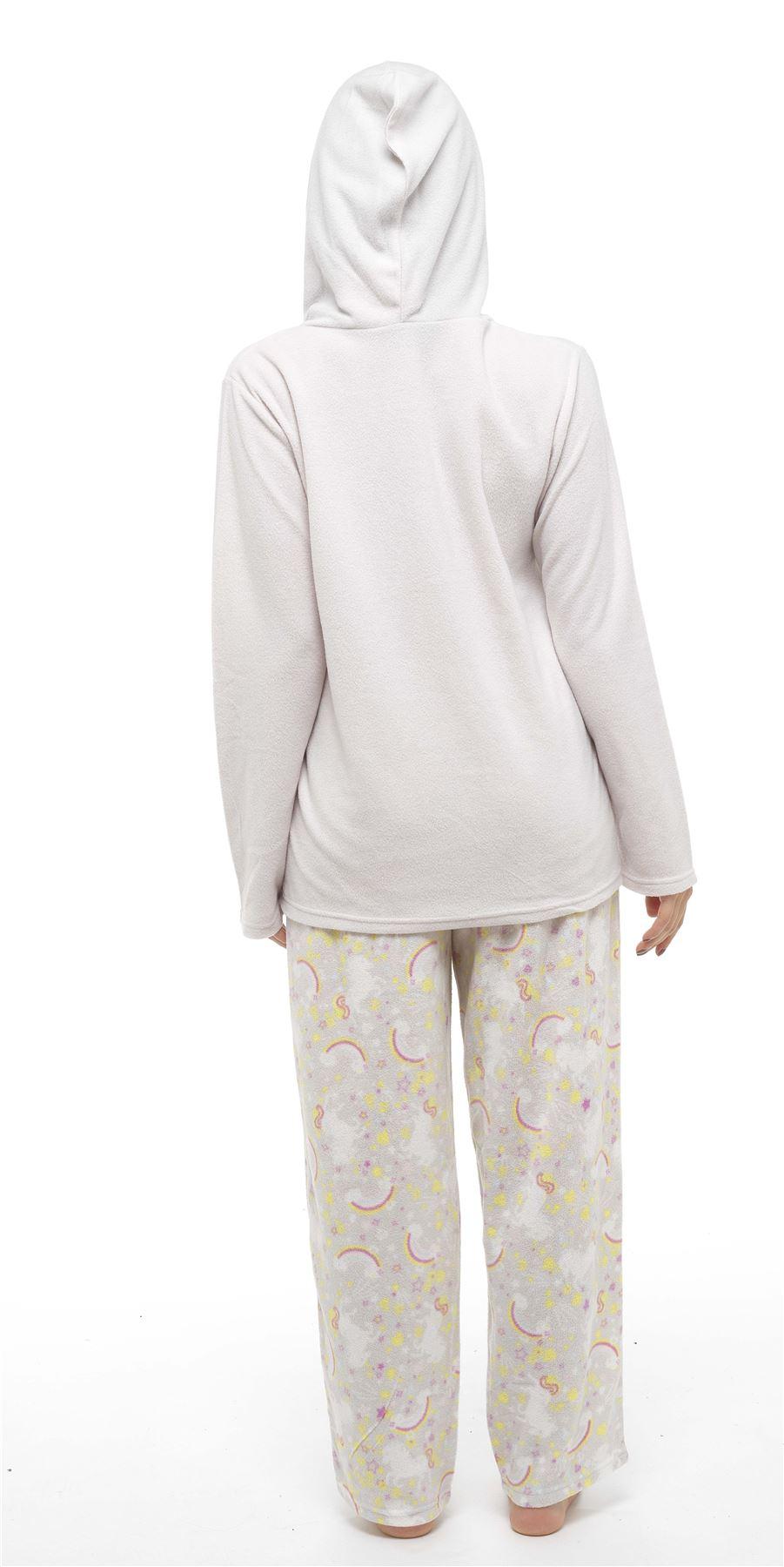 Fleece Top /& Pants Set Nightwear Size 8-18 Ladies Unicorn Hooded Pyjamas