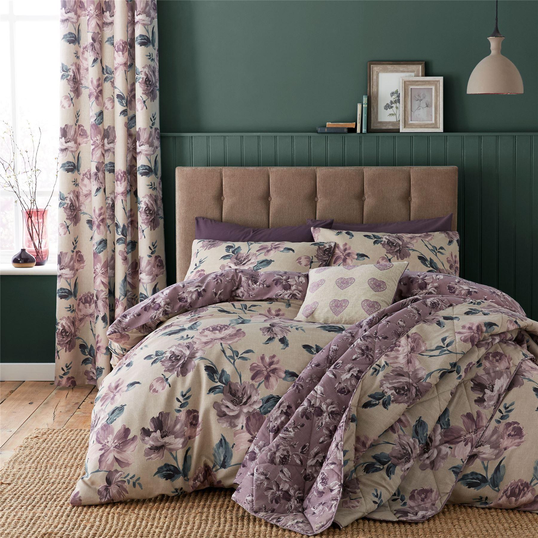 Painted Floral Duvet Quilt Cover Set, Bed Linen Double King Size ... : double size quilt - Adamdwight.com
