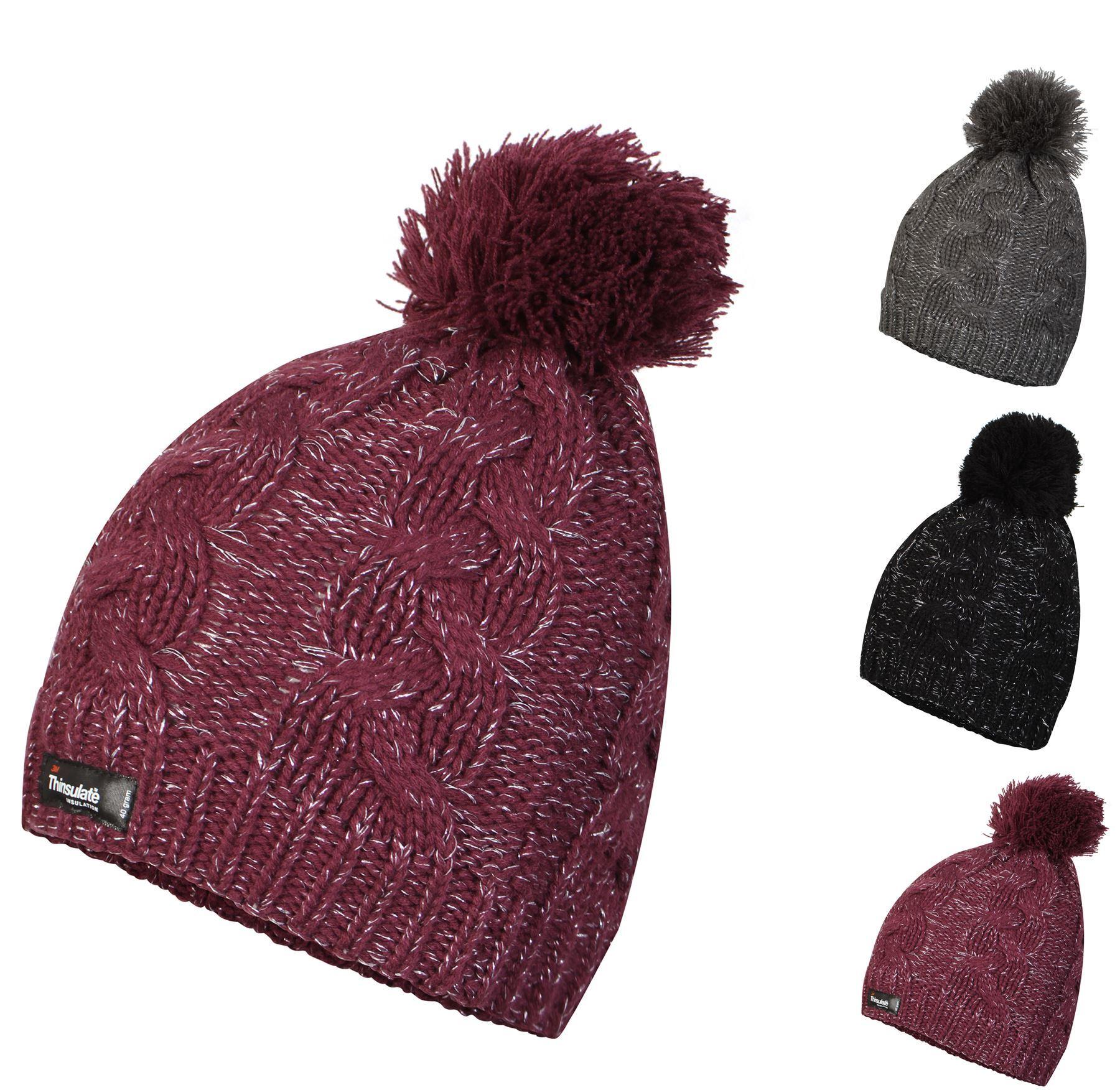 46907cf64 Details about Women's Waterproof Thinsulate Beanie Hat Lurex Bobble Hats,  L12