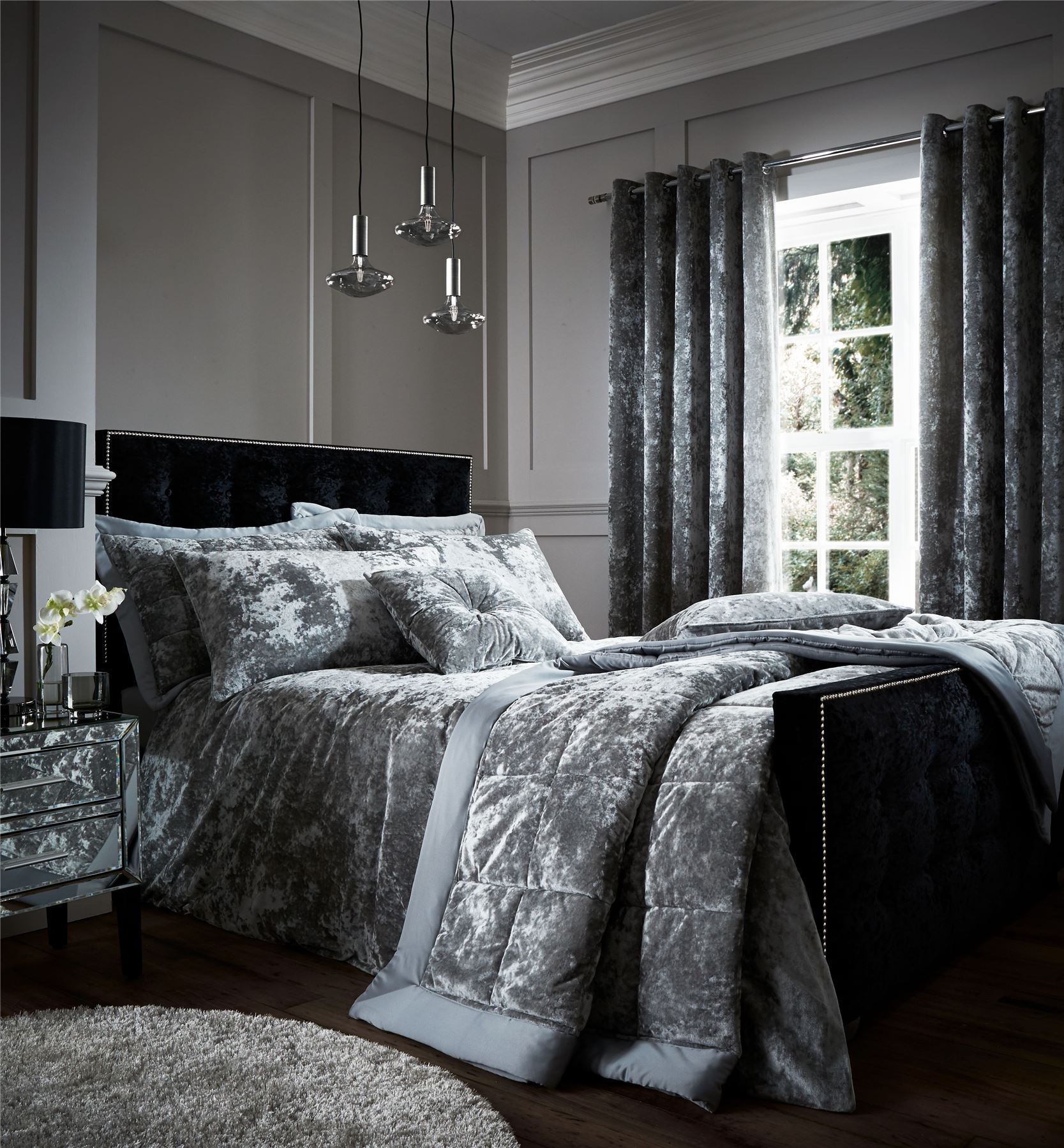 crushed velvet duvet quilt cover set bed linen double. Black Bedroom Furniture Sets. Home Design Ideas