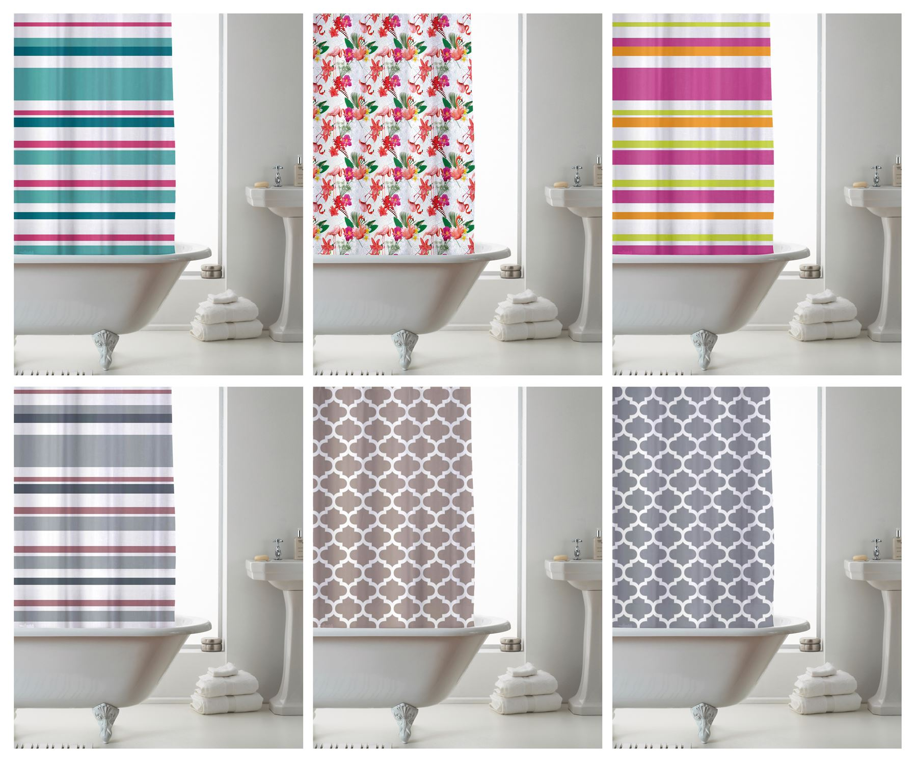 Shower Curtain With Ring Hooks Stylish Bathroom Curtains 180 X Cm