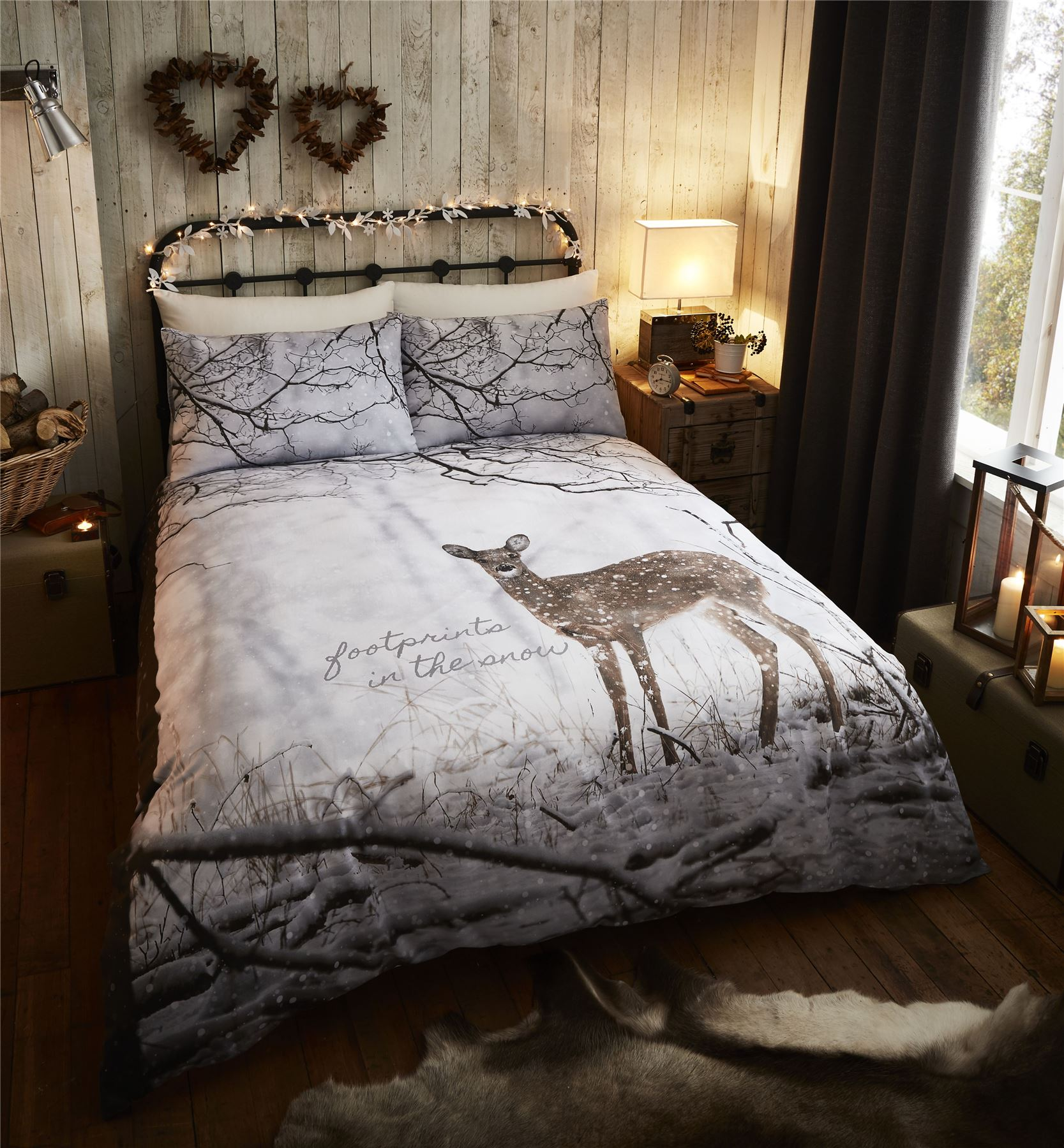 Woodland Deer Duvet Quilt Cover Set, Bed Linen Single Double King ... : king size bed quilt cover sets - Adamdwight.com