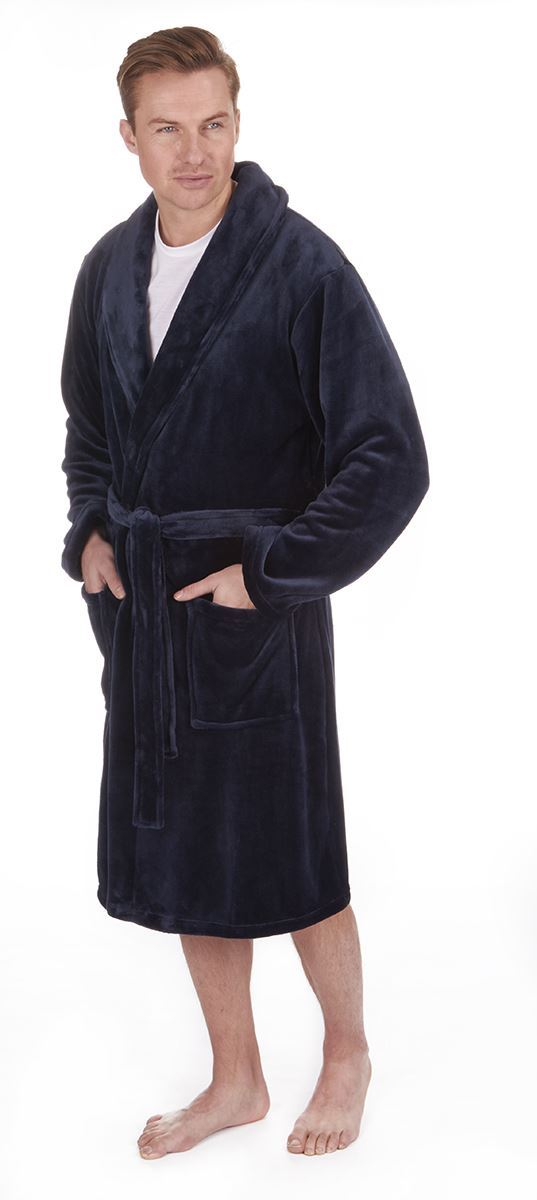 Men\'s Flannel Fleece Shawl Collar Robe, Luxury Heavy Dressing Gown ...