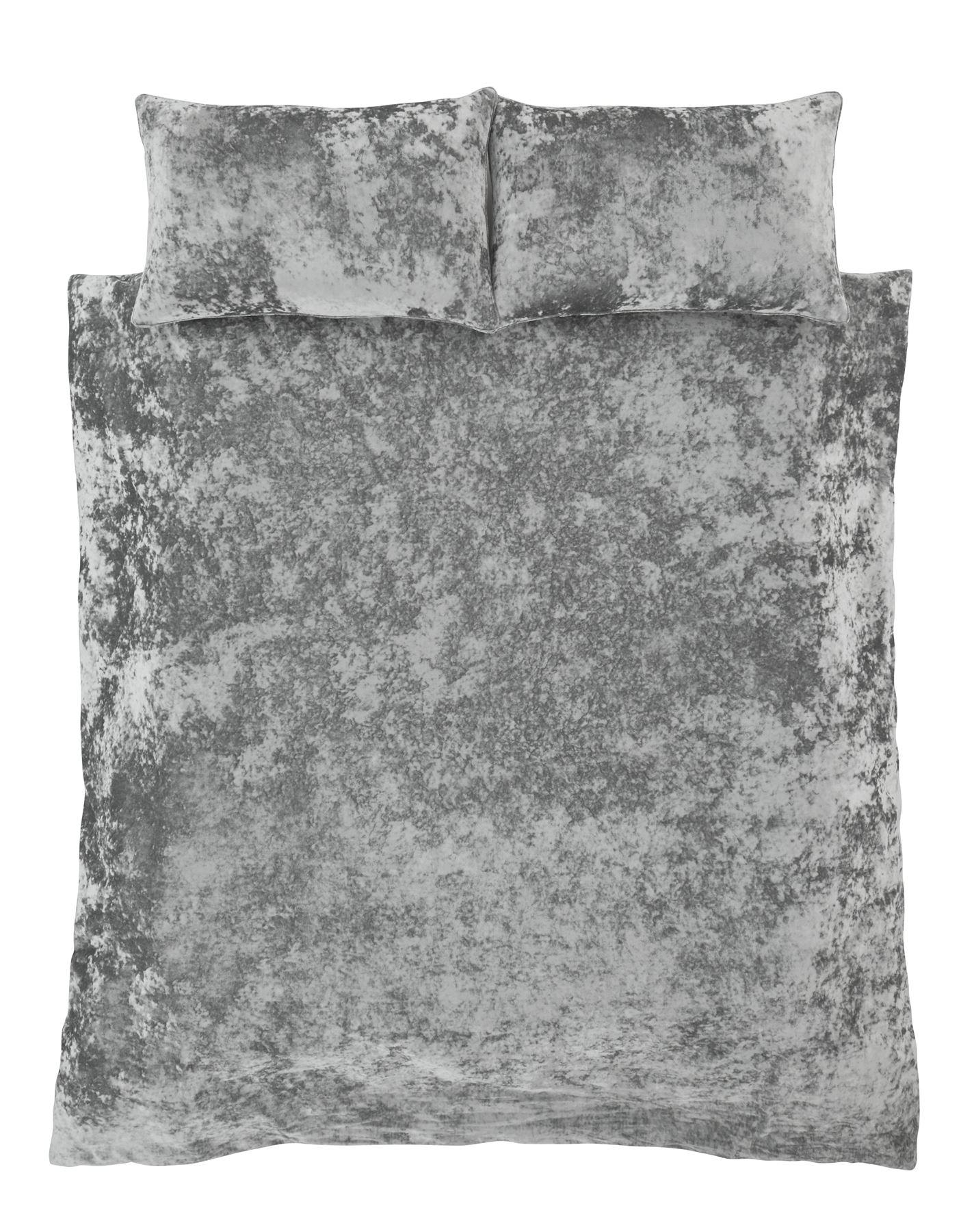 crushed velvet duvet quilt cover set bed linen double. Black Bedroom Furniture Sets. Home Design Ideas
