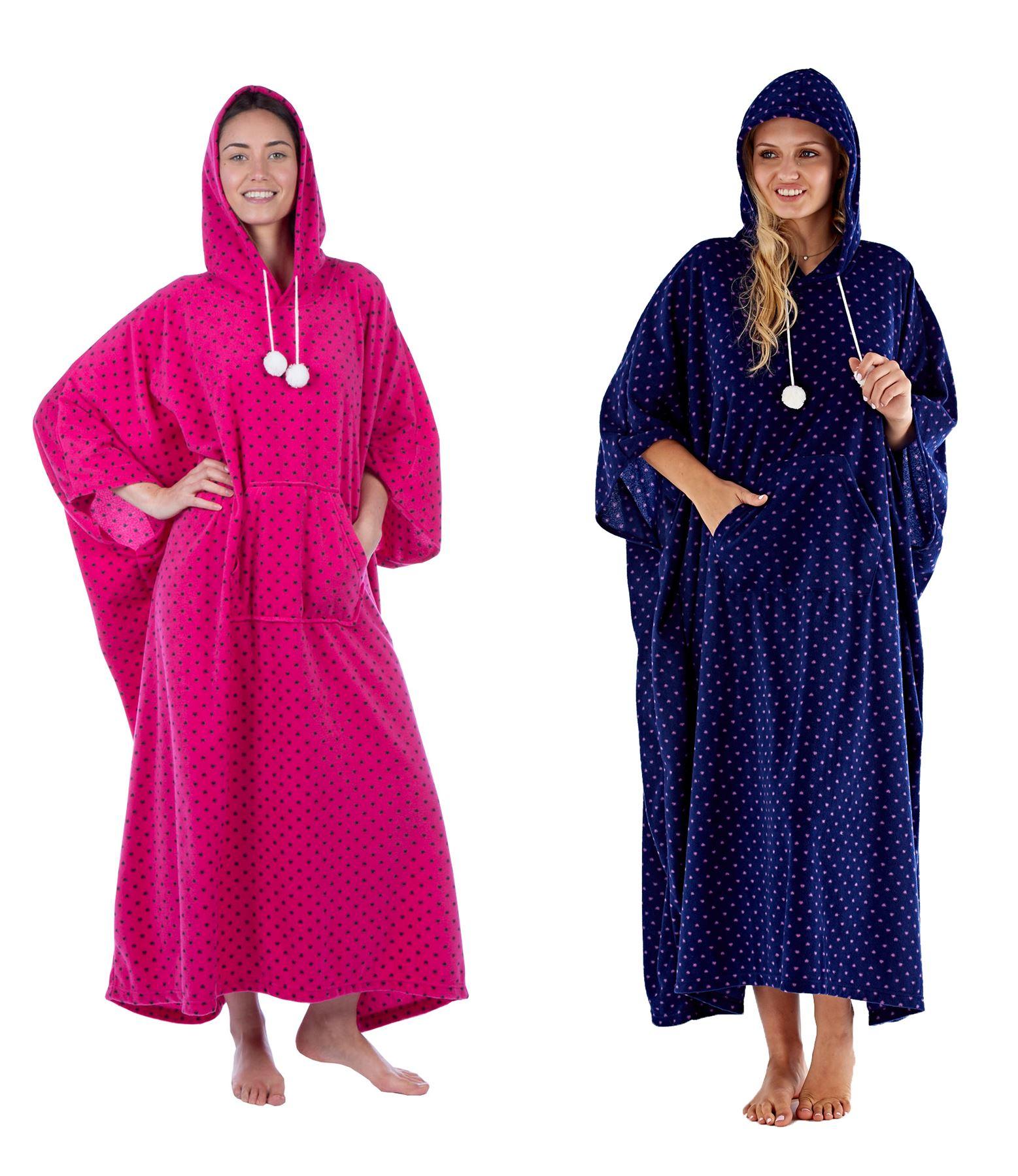 Image is loading Ladies-Hearts-Hooded-Poncho-Designer-Soft-Fleece-Lounge- b13f72ead