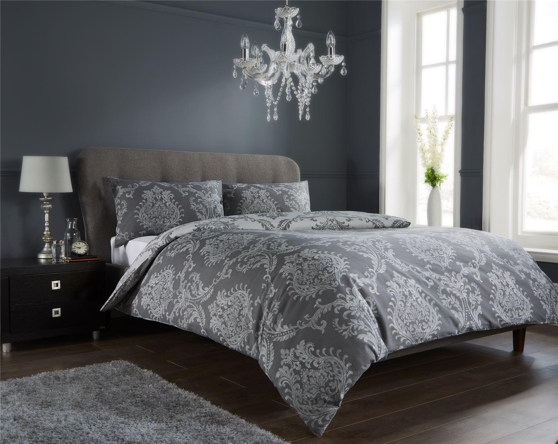 Damask Duvet Quilt Cover Set, Bed Linen Double King Size