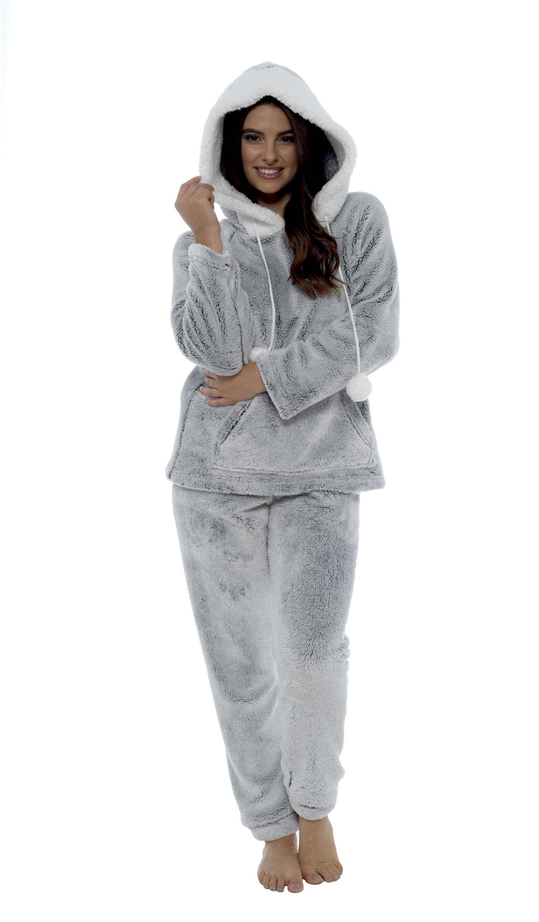 super cheap compares to best authentic how to find Details about Women's Shimmer Fleece Pyjamas, Soft Fluffy Hooded Twosie  Pyjama Set, LN769