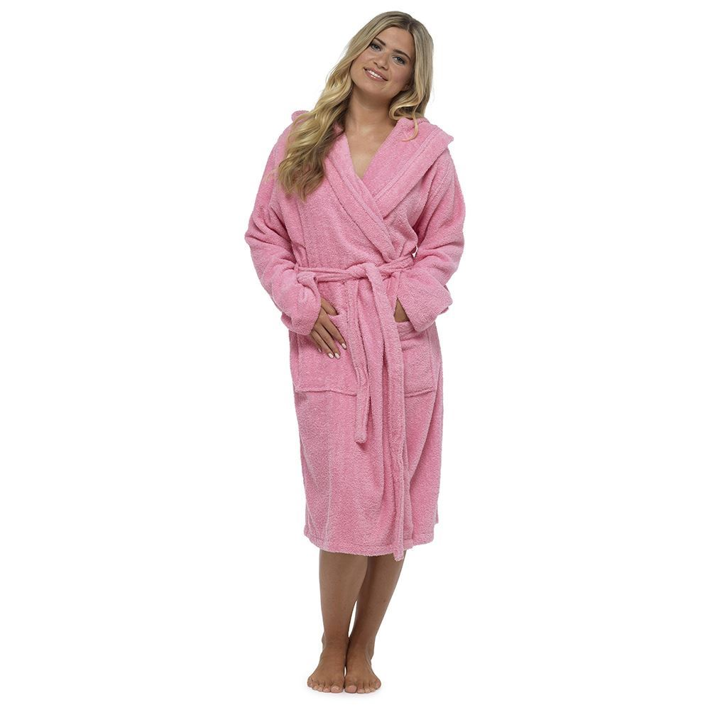 Women-039-s-Hooded-Towelling-Robe-Dressing-Gown- 60ddbcc433da