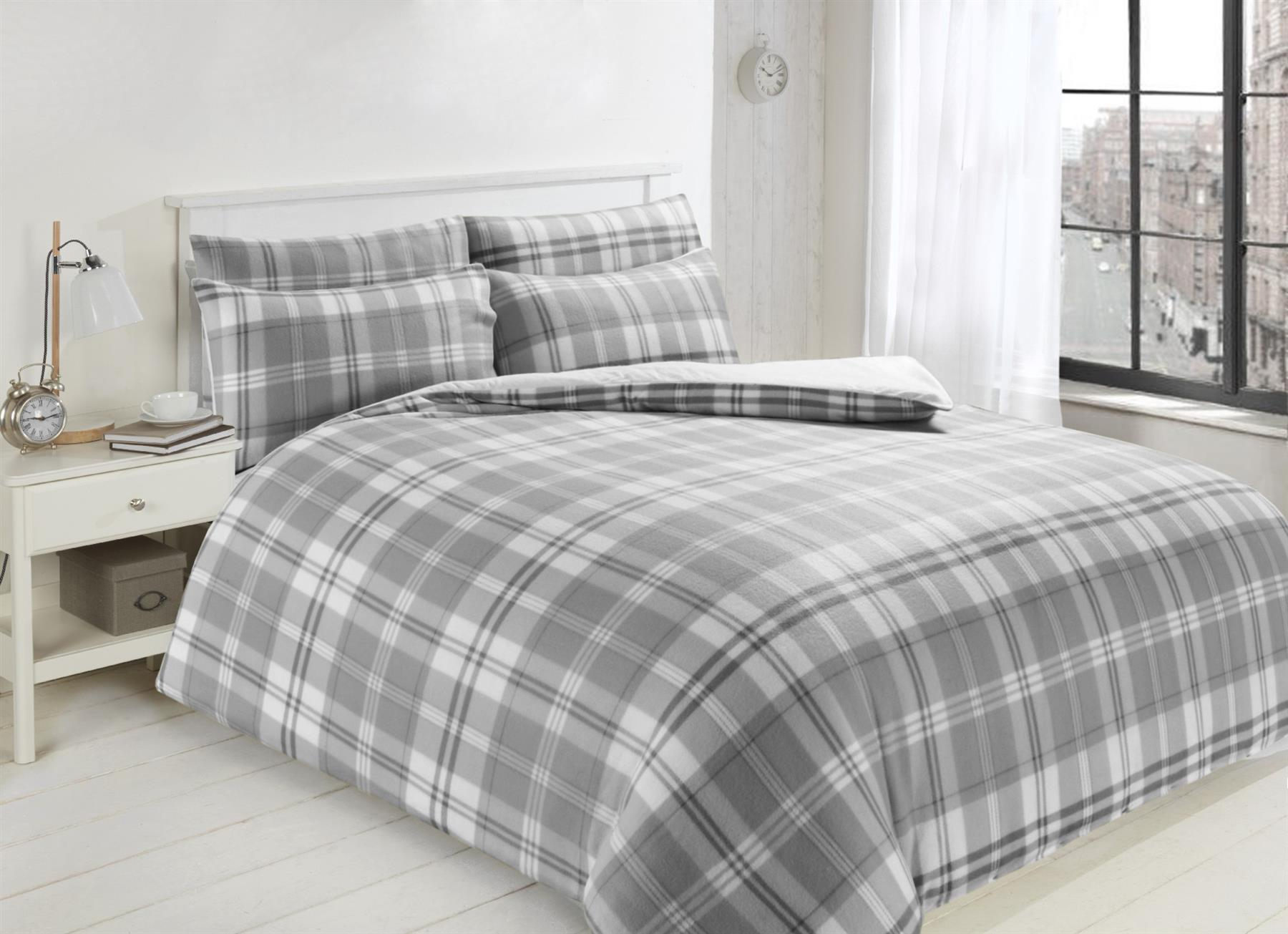 Printed Teddy Fleece Duvet Cover Set Soft Warm Quilt Set With Cosy Toes