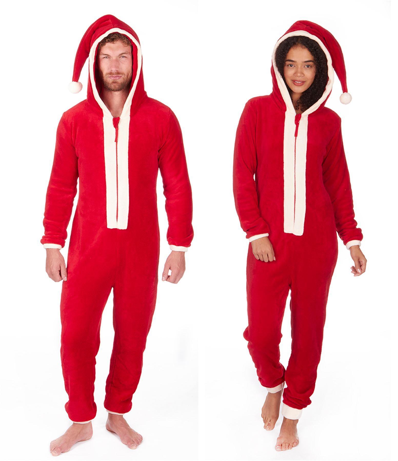 negozio online 8e69c 08e1a Unisex Babbo Natale di Pile con Cappuccio Tutto in uno, Uomo ...