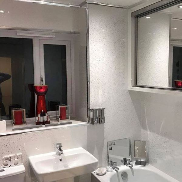 Superbe Sparkle Cladding White Black Sparkle Bathroom PVC Panels