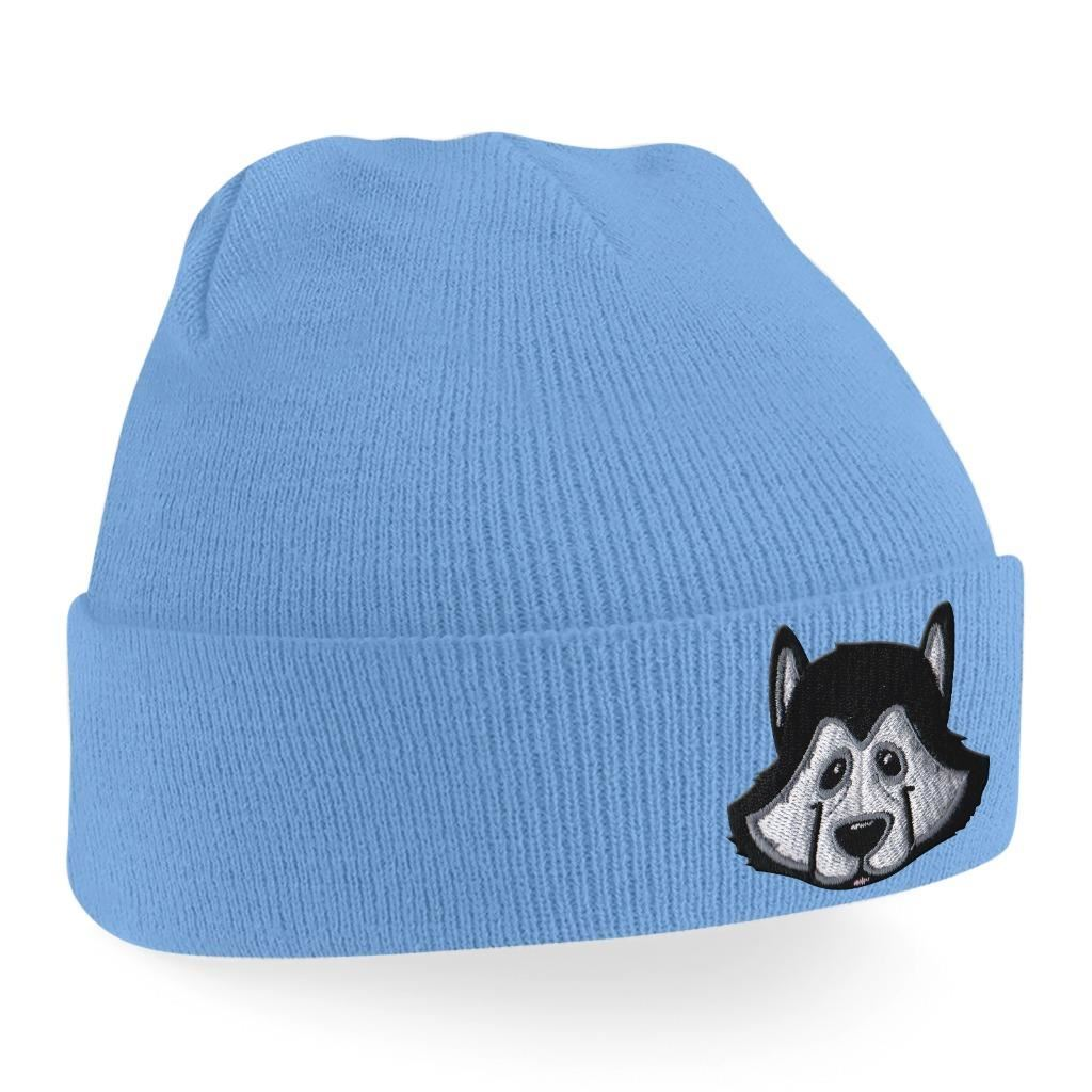 Beanie Hats Men Siberian Husky Beanies Embroidered Animal Face ... eadbfc47cd3