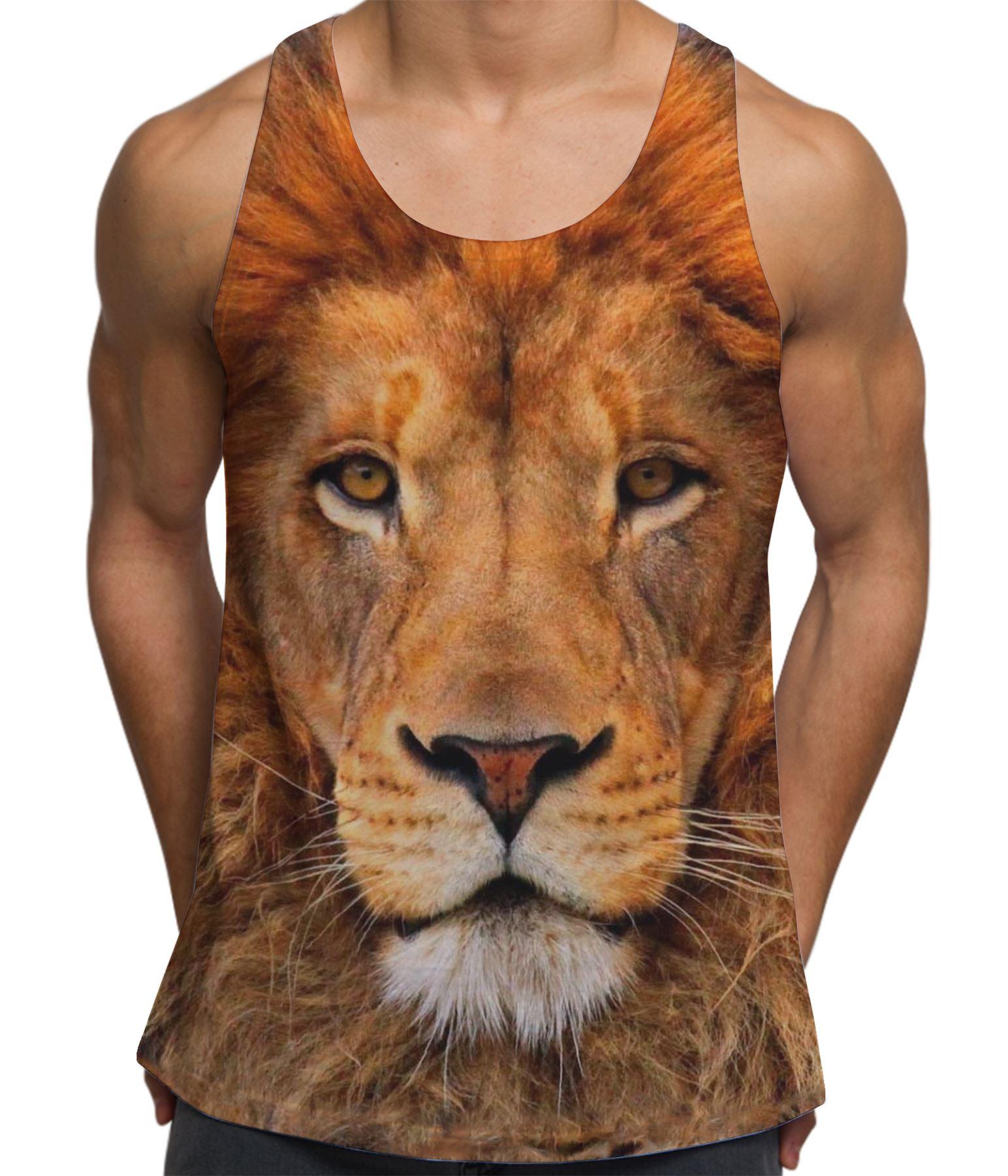 Lion Face Animal Print Vest Printed Tank Top Summer Festival Clothes S-XXL