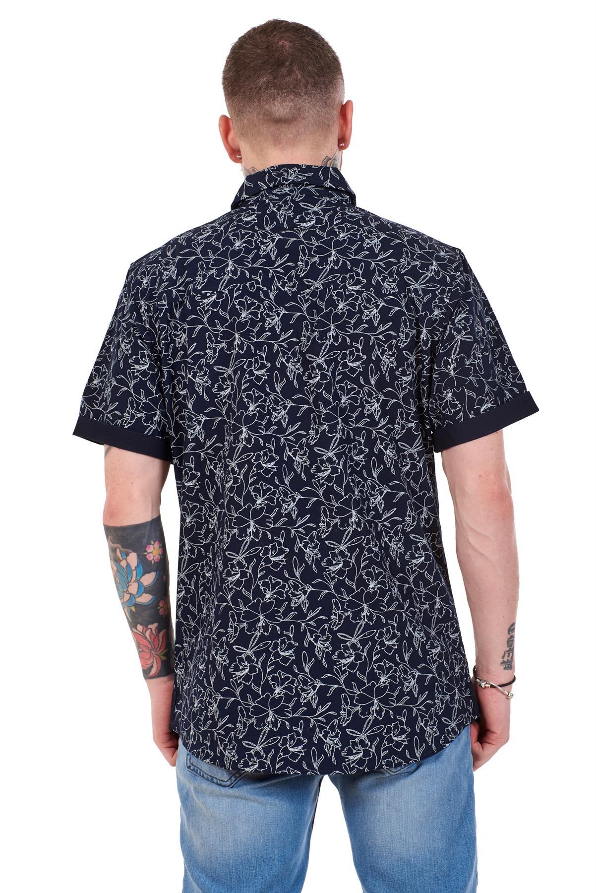 Mens-100-Cotton-Printed-Shirt-Short-Sleeve-Regular-Big-Size-Casual-Top-M-to-5XL thumbnail 15