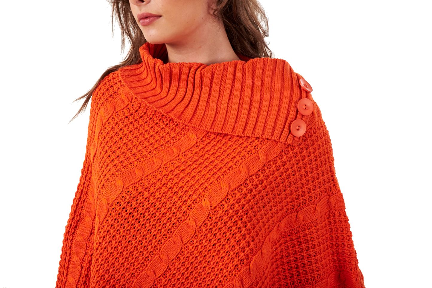 Ladies Cable Knit Poncho 3 Button Polo Neck Pullover UK One Size