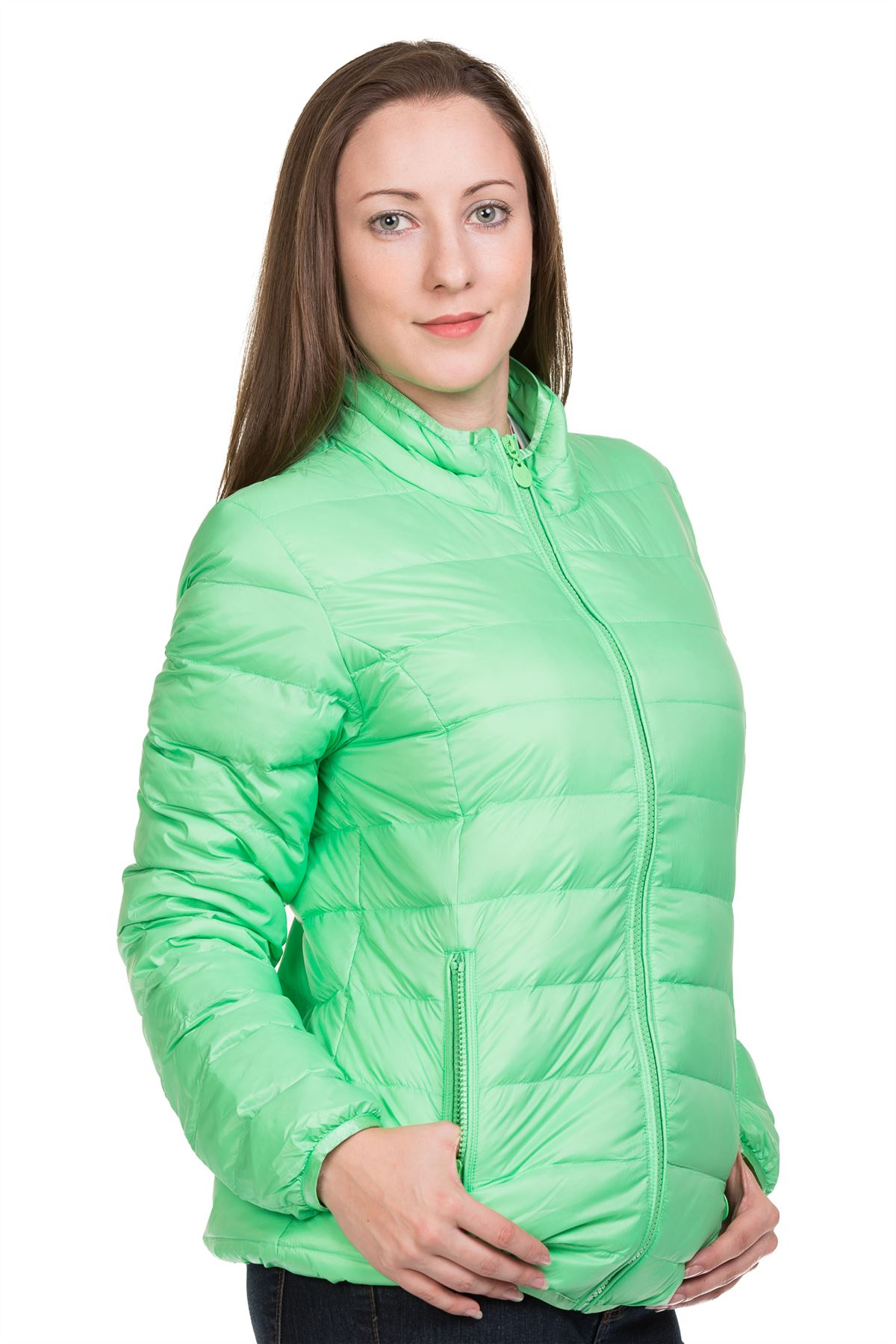 Ladies-Padded-Jacket-Down-Feather-Lining-Plain-Lightweight-Quilted-Floral-Coats thumbnail 7