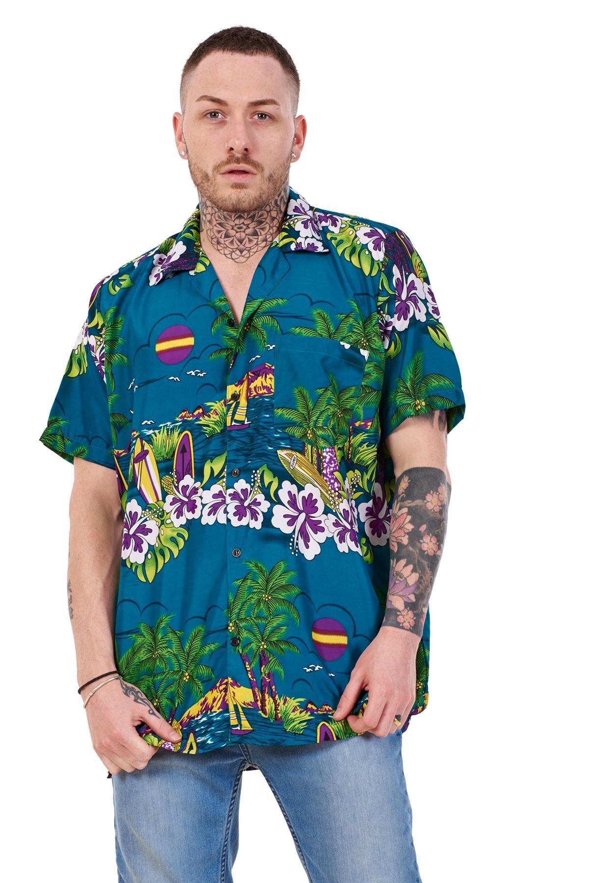 Mens-Hawaiian-Shirt-Multi-Colors-Print-Regular-Big-Size-Summer-Fancy-Dress-M-5XL thumbnail 8