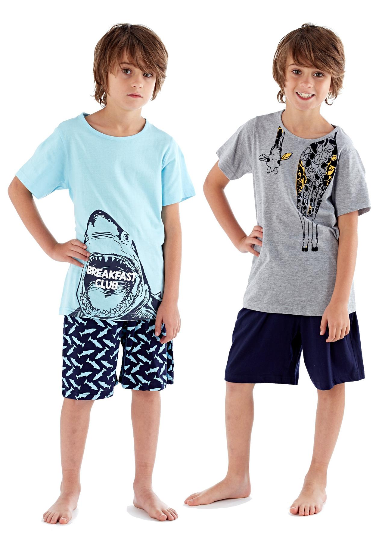 Apparel Boys Kids New Short Pyjama Set Crew Neck 100/% Cotton Summer Breakfast PJs 5-12