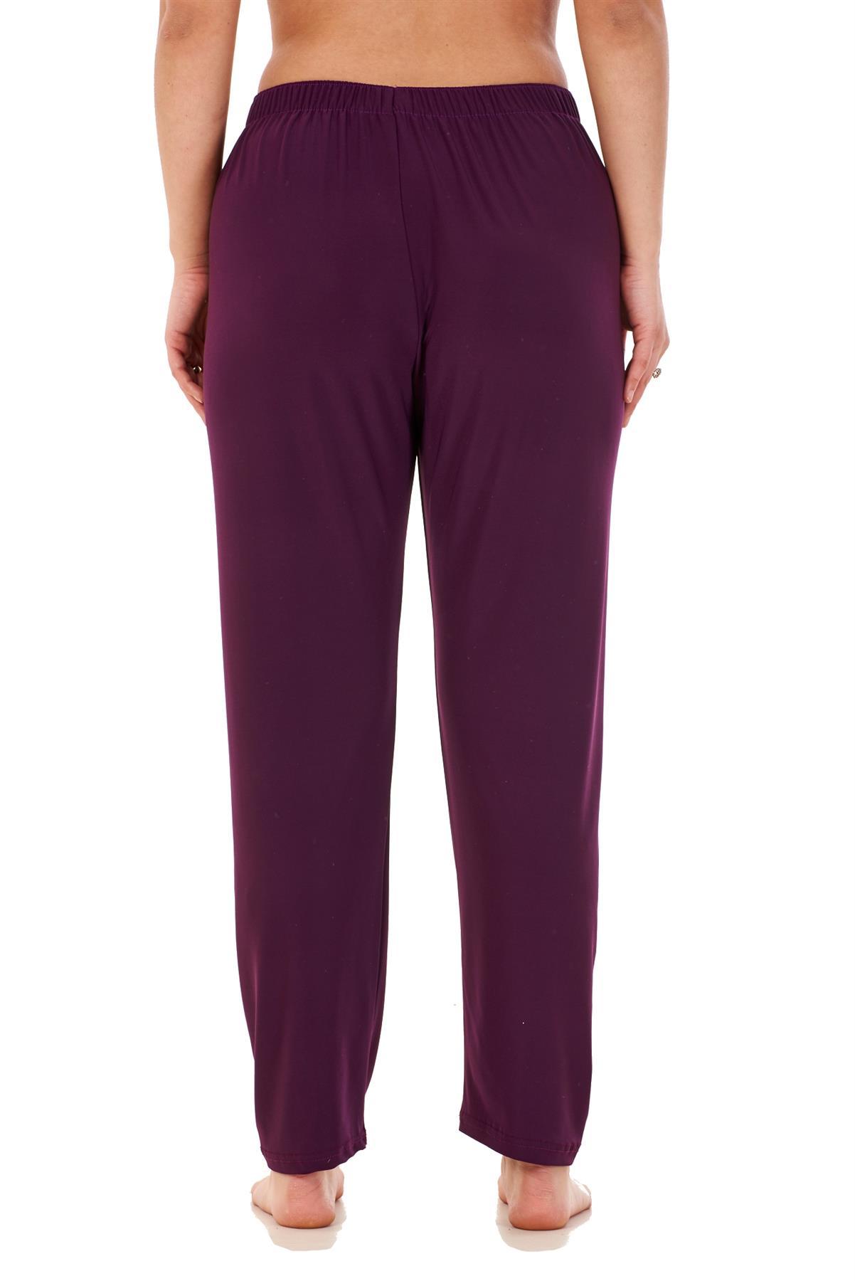 Ladies-Women-Trouser-Elasticated-Tapered-High-waist-ITY-Regular-Pants-Black thumbnail 32