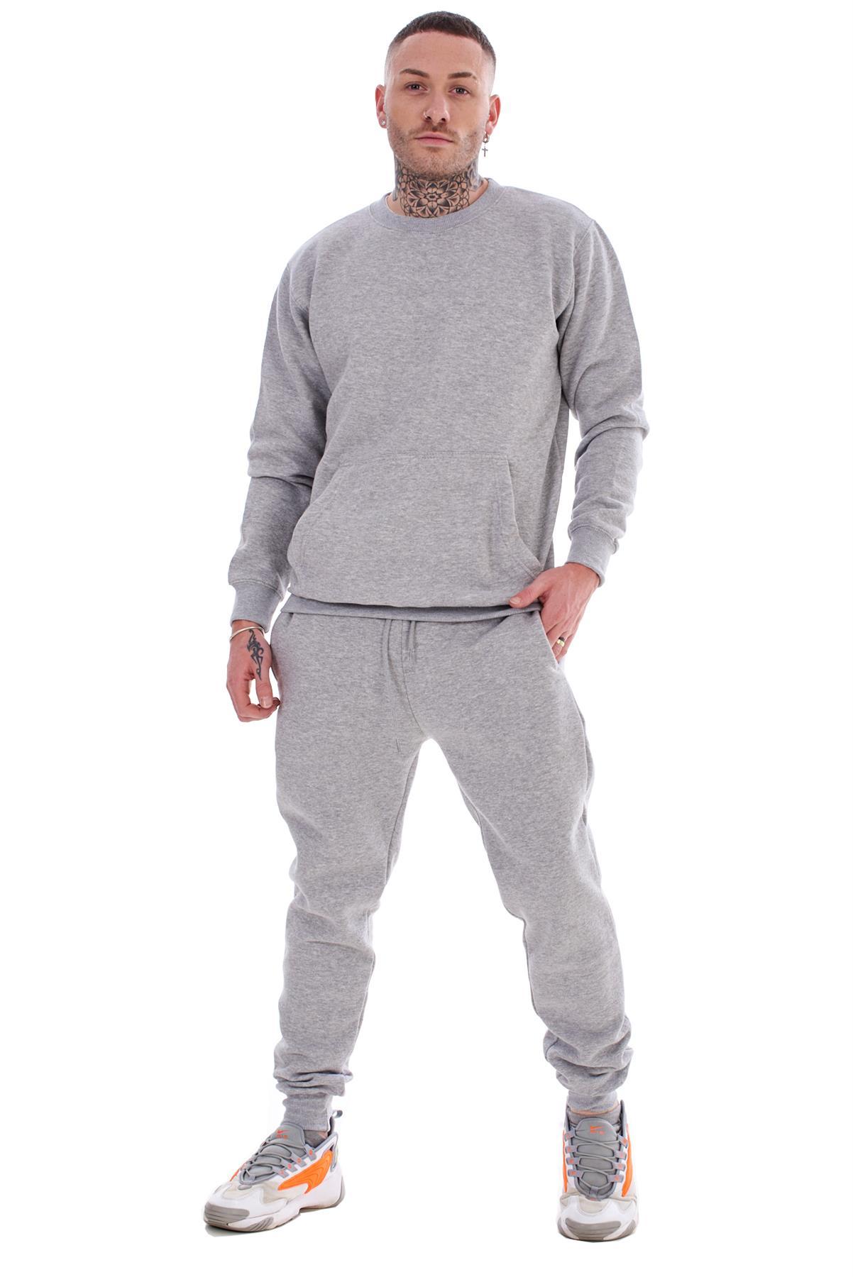 Mens-Plain-Tracksuit-Branded-Fleece-Pullover-Sweatshirts-Cotton-Jogging-Bottoms thumbnail 11