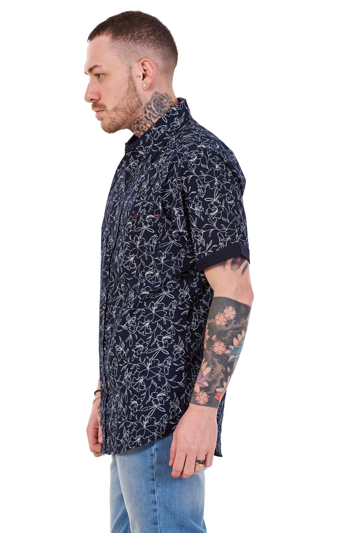 Mens-100-Cotton-Printed-Shirt-Short-Sleeve-Regular-Big-Size-Casual-Top-M-to-5XL thumbnail 14