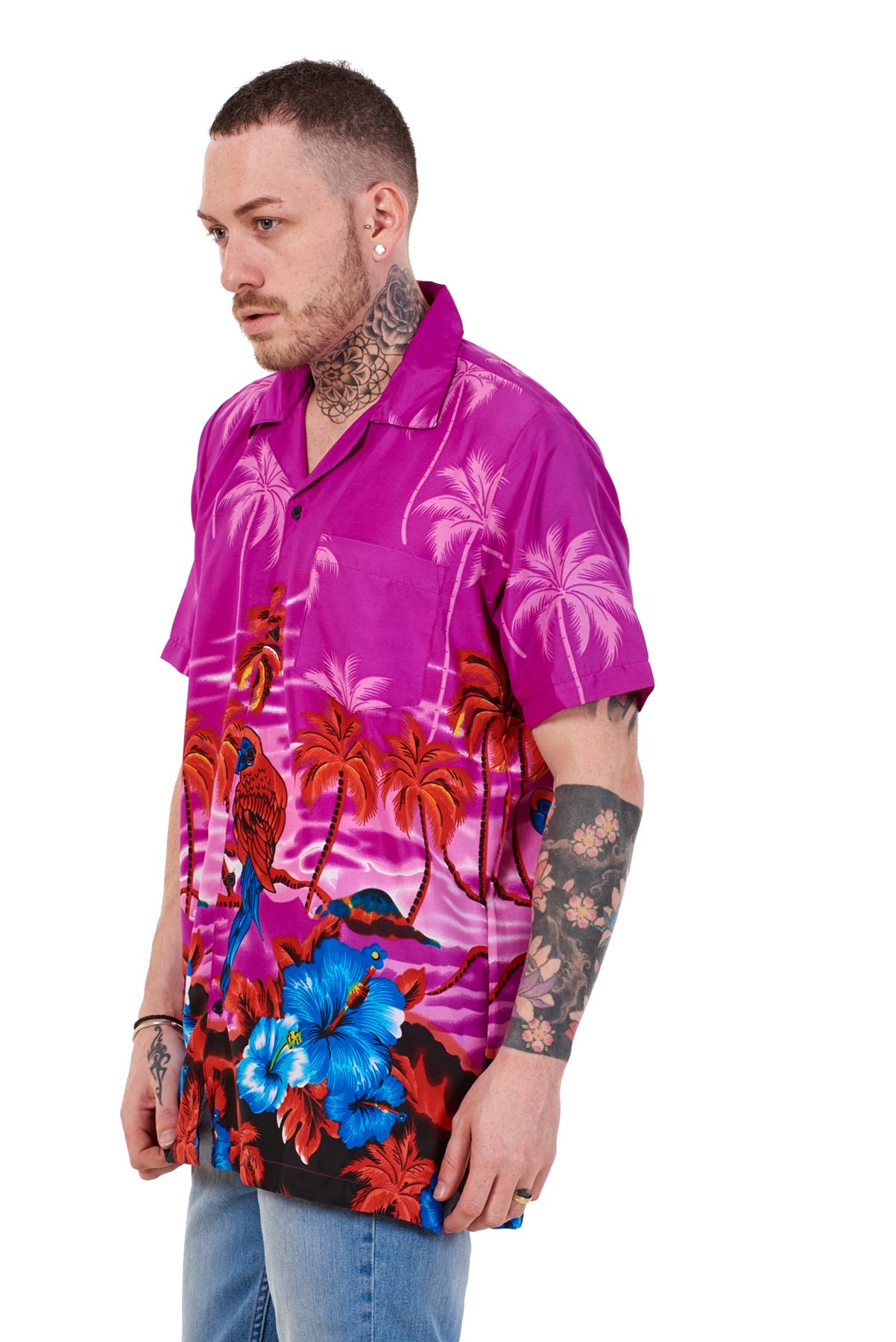 Mens-Hawaiian-Shirt-Multi-Colors-Print-Regular-Big-Size-Summer-Fancy-Dress-M-5XL thumbnail 31